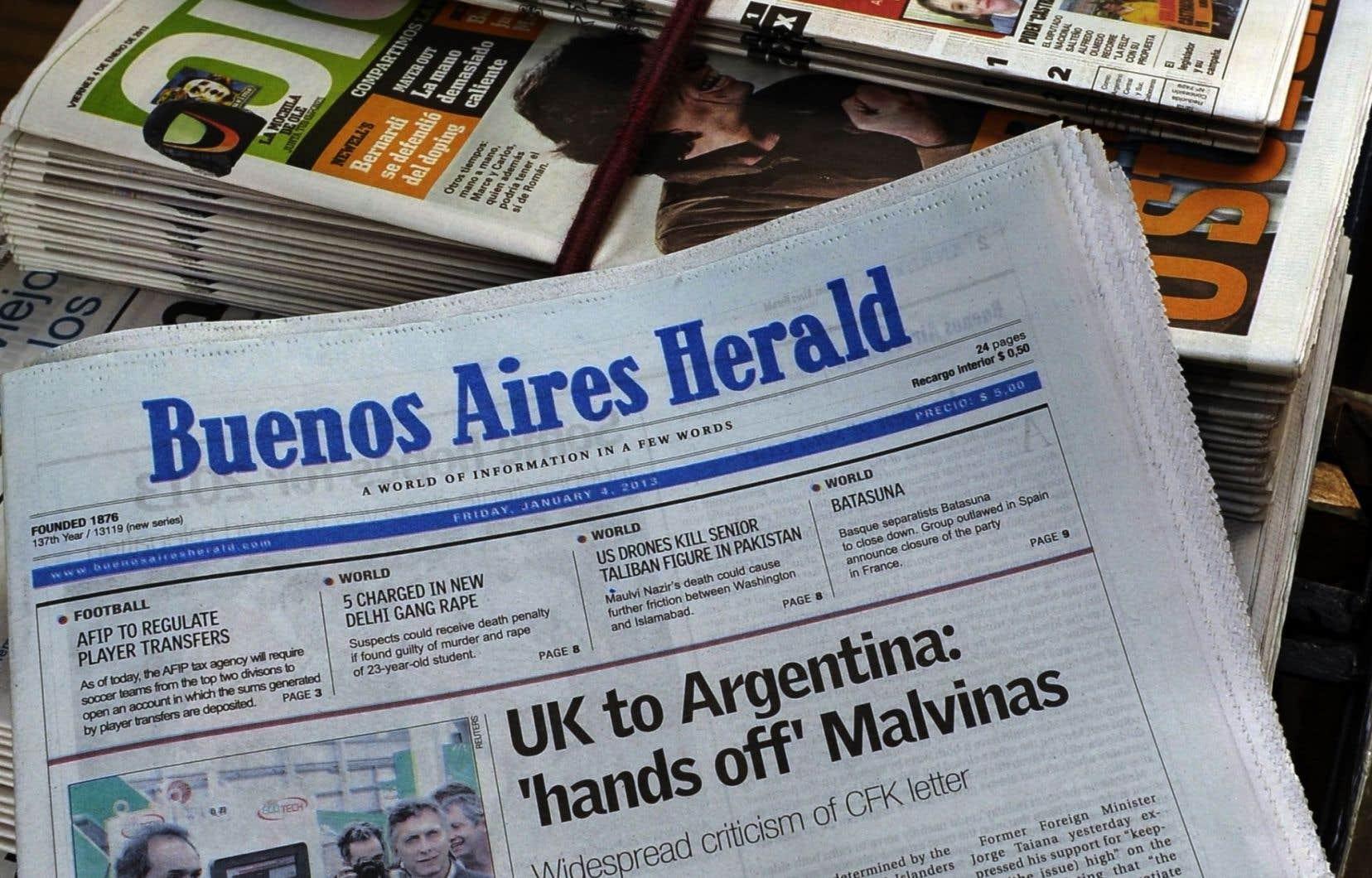 La une du «Buenos Aires Herald» en janvier 2013, à l'époque où le journal était encore un quotidien.