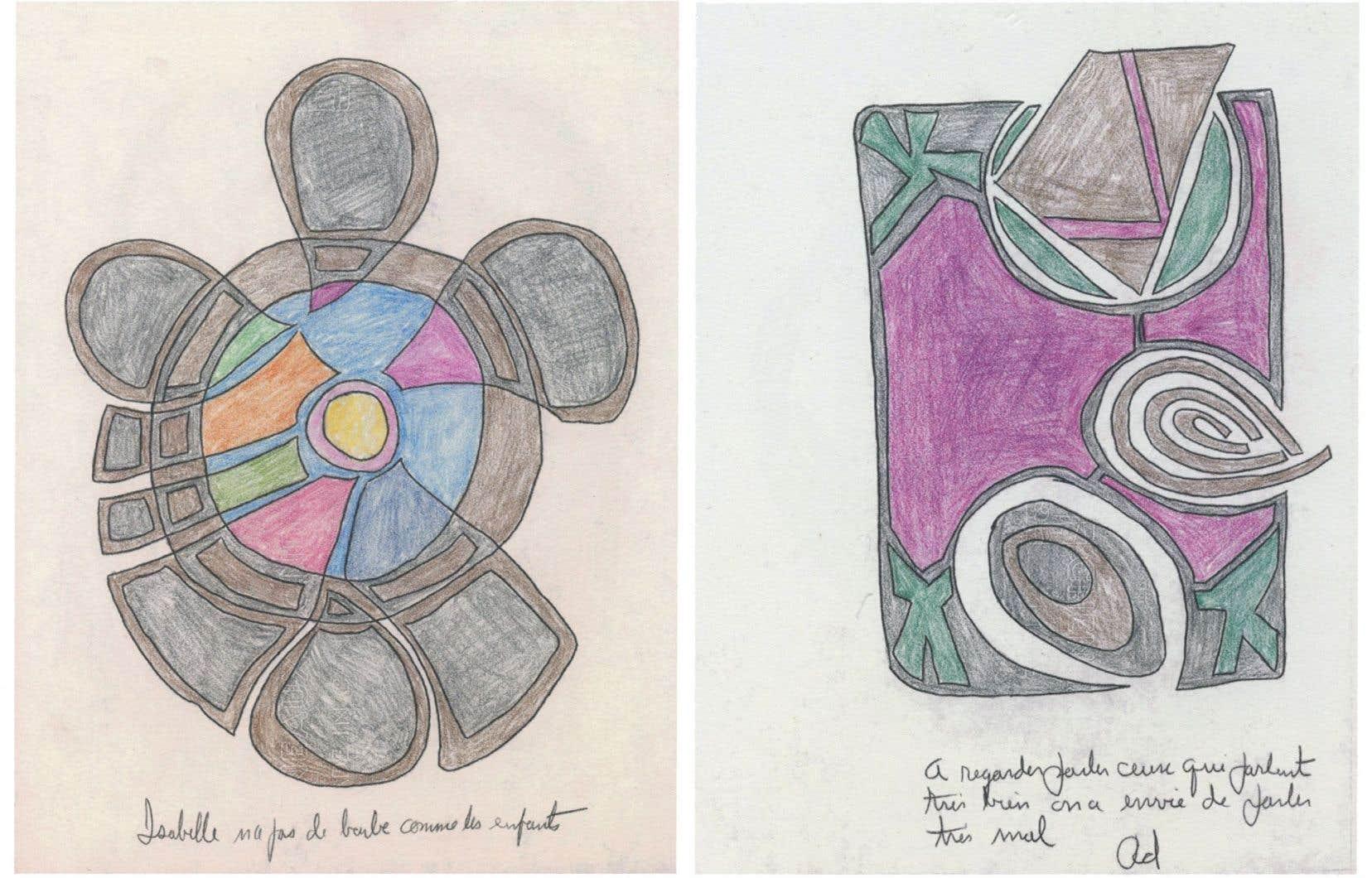 Dans «Le Lactume», tout Réjean Ducharme se concentre dans cet assemblage plutôt enfantin de croquis aux crayons de couleur, aux courbes, aux carrés, aux formes répétitives.