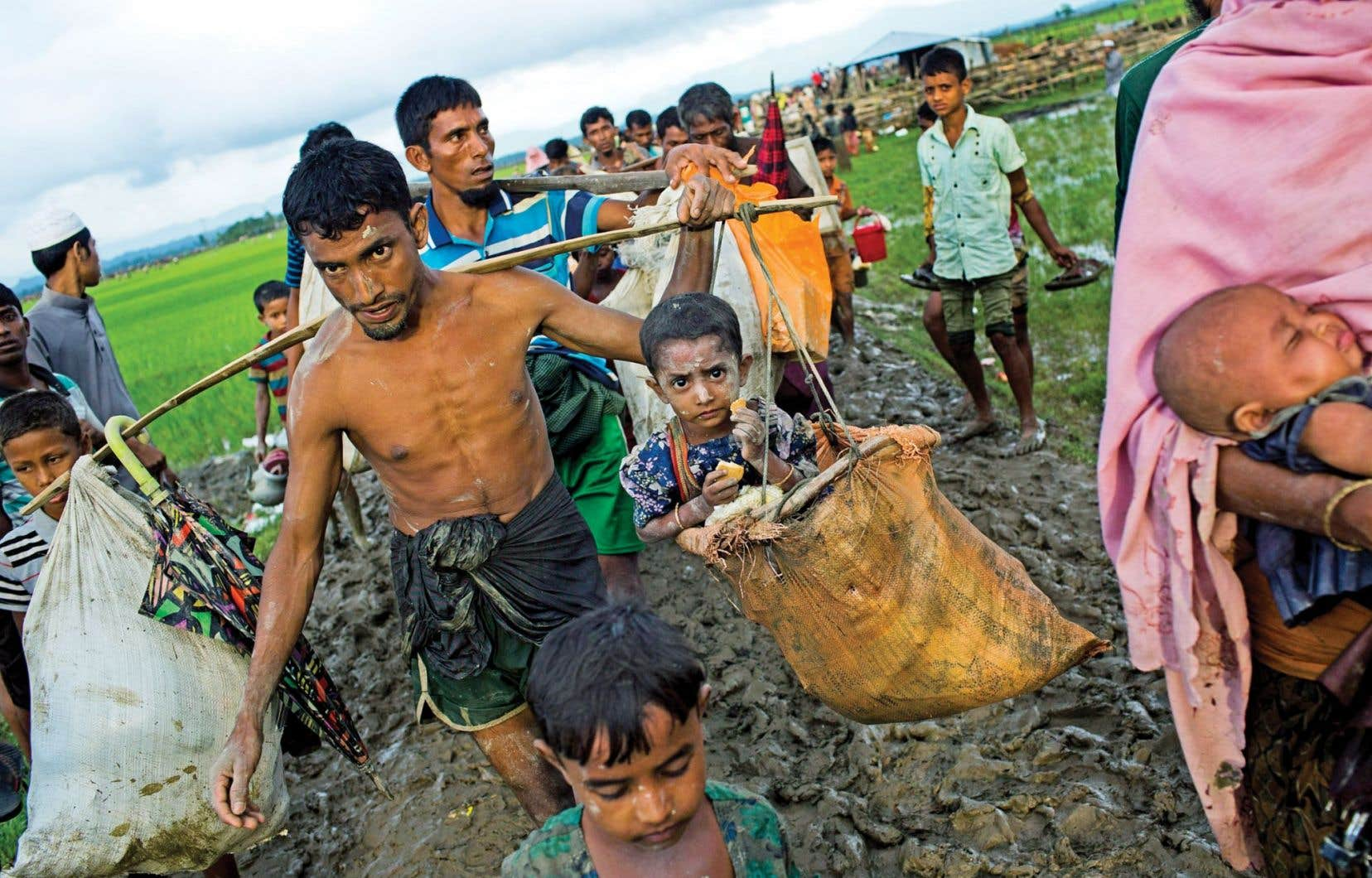 Des dizaines de milliers de Rohingyas ont pris la route de l'exil vers le Bangladesh voisin, à travers les rizières. Plus de 400 000 réfugiés de l'ethnie musulmane, qui ont fui de précédentes vagues de violences, s'y trouvent déjà. Mais le Bangladesh, qui ne peut en accueillir davantage, a fermé sa frontière.