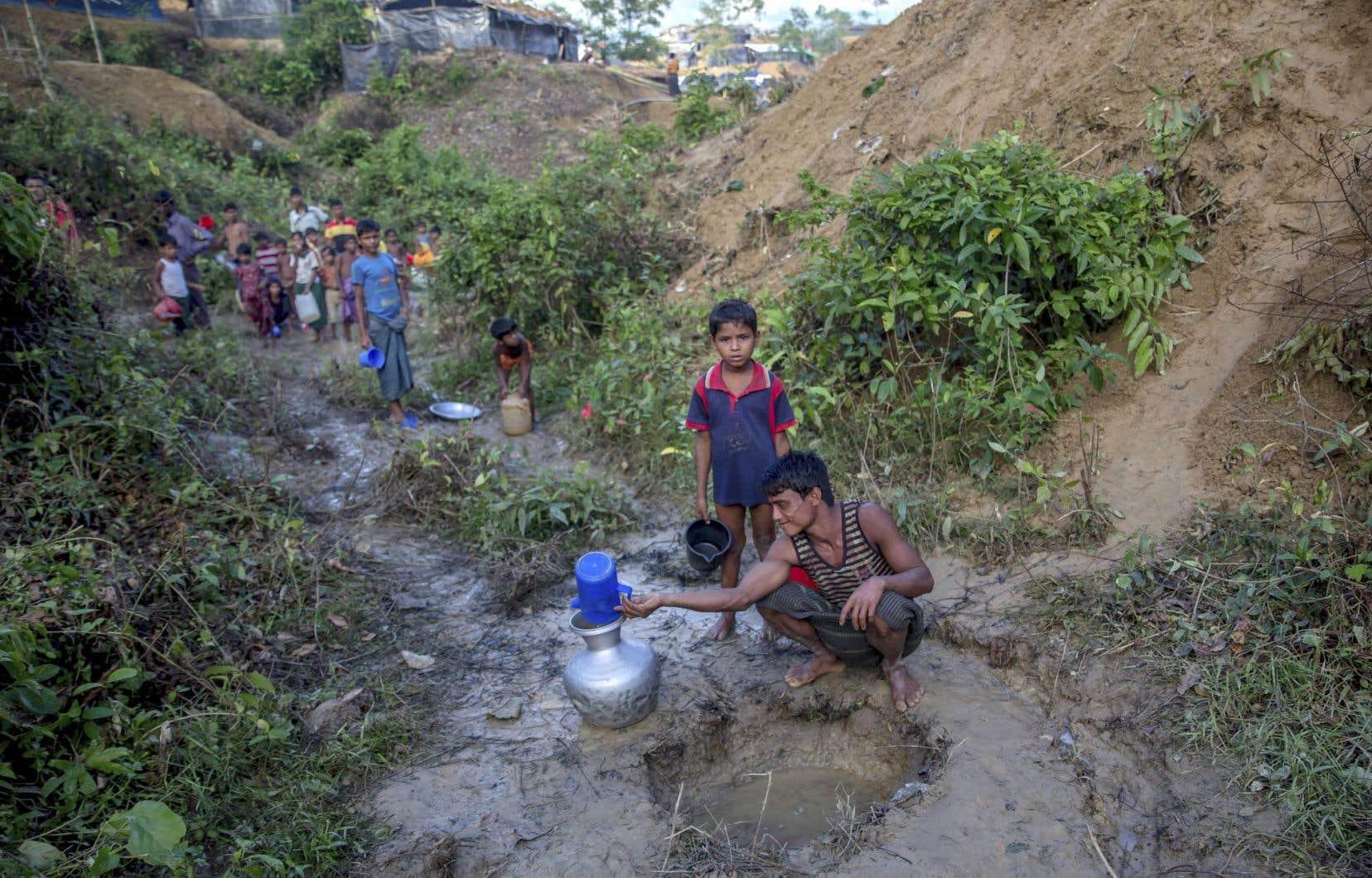 Un père rohingya et son fils puisent de l'eau de pluie au camp de réfugiés Balukhali, à la frontière du Bangladesh.