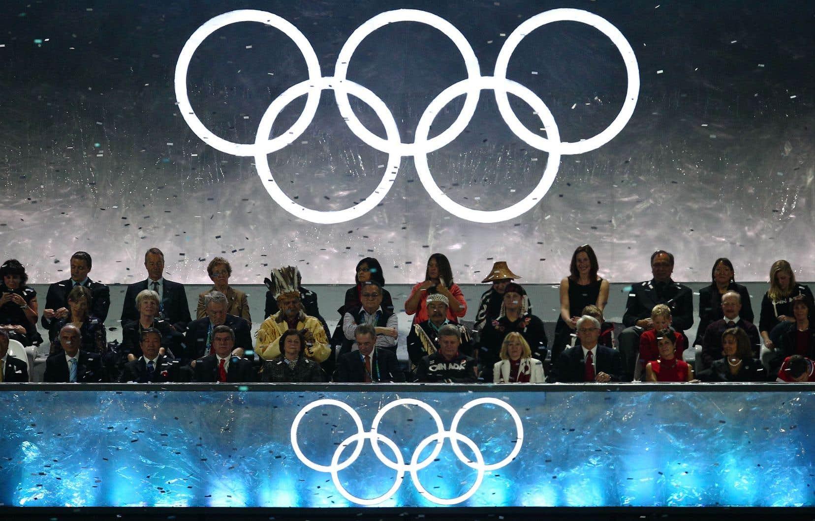 La tribune où étaient assis le premier ministre canadien Stephen Harper et les hauts officiers du Comité international olympique, lors de la cérémonie de clôture des Jeux olympiques de Vancouver en 2010