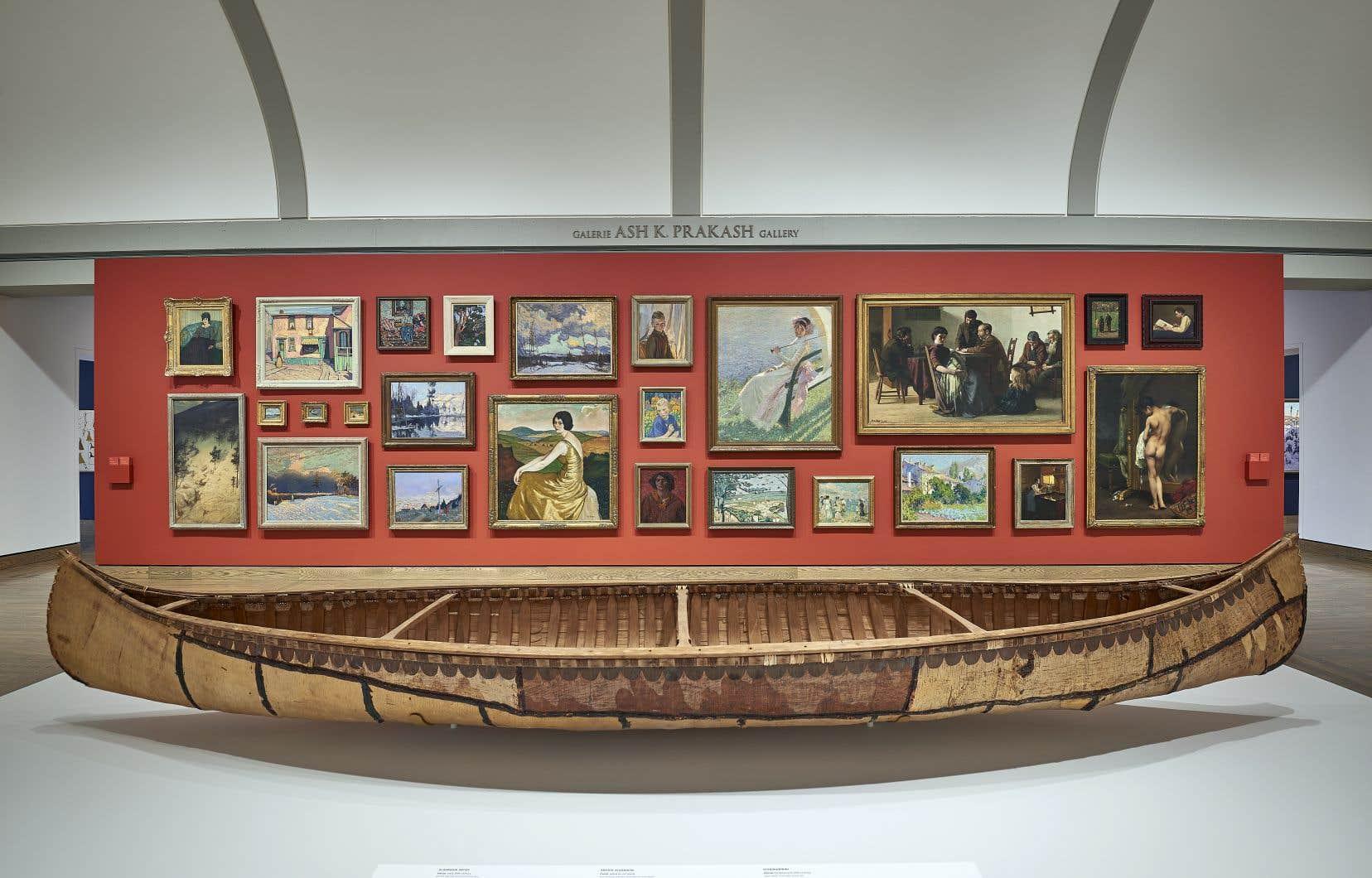 Vue d'une partie de l'exposition <em>Art canadien et autochtone: des temps immémoriaux jusqu'en 1967</em>, juin 2017