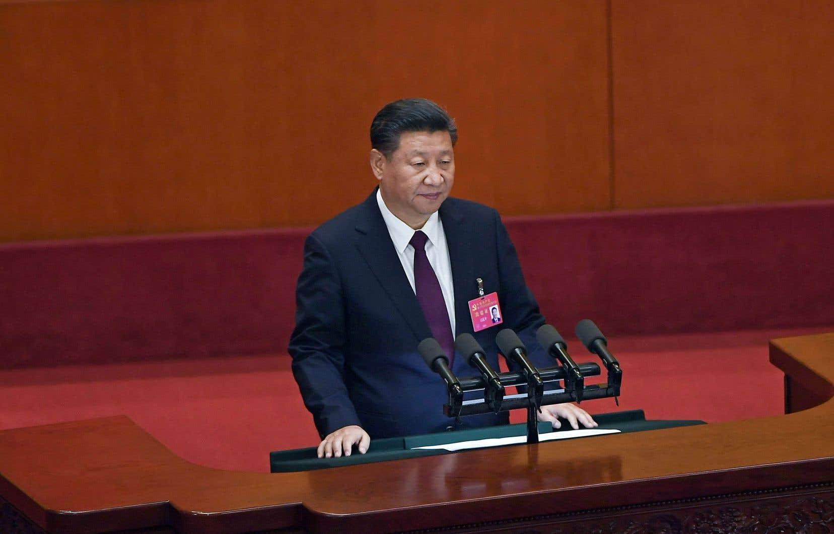 Le président Xi Jinping prononçait son discours d'ouverture du congrès du Parti communiste chinois à Pékin le 18 octobre dernier.