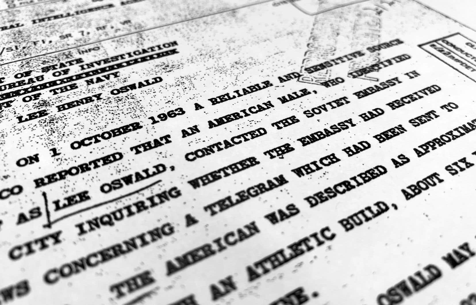 Extrait d'un rapport rédigé par la CIA en 1963 concernant la mort du président Kennedy. Il fait partie des documents divulgués vendredi par les archives nationales américaines.