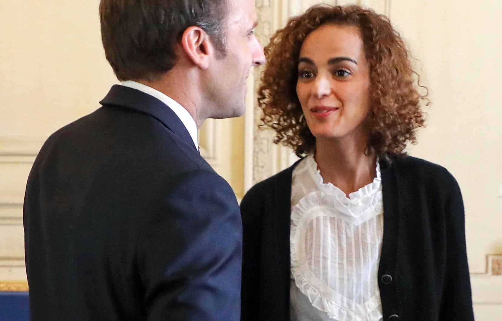 Leïla Slimani en compagnie du président Emmanuel Macron