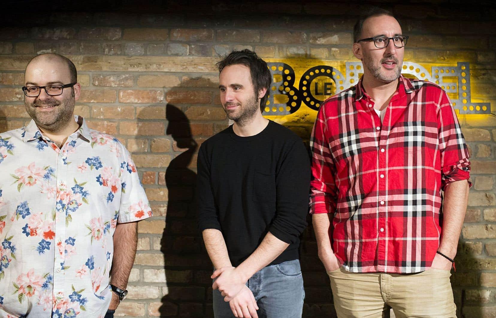 Laurent Paquin, Louis-José Houde et Martin Petit font partie du collectif d'humoristes désireux de fonder un nouveau festival d'humour à Montréal. Sur la photo, ils font l'annonce de l'ouverture de la salle de spectacle Le Bordel consacrée à l'humour en avril 2015.