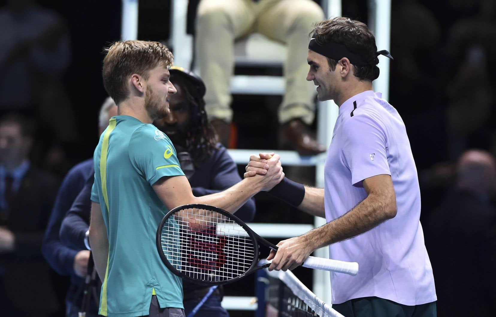David Goffin a mis un terme aux espoirs de Roger Federer de remporter un septième titre des Finales de l'ATP.