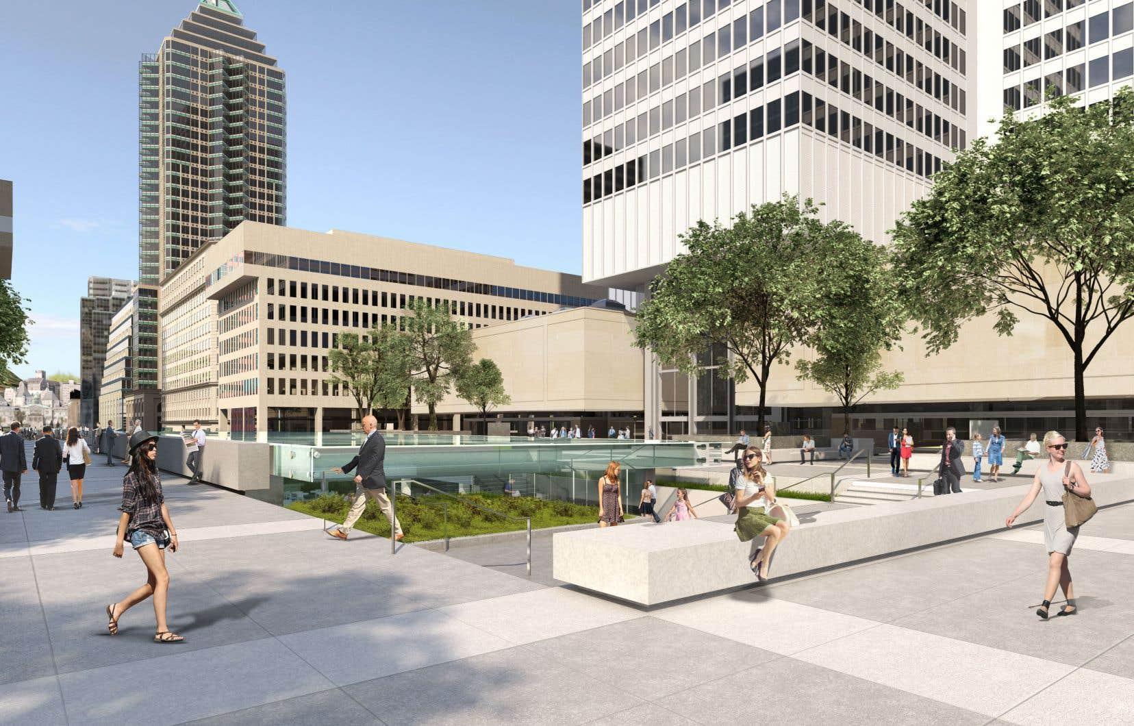 Un rendu architectural du redéveloppement de la Place Ville Marie