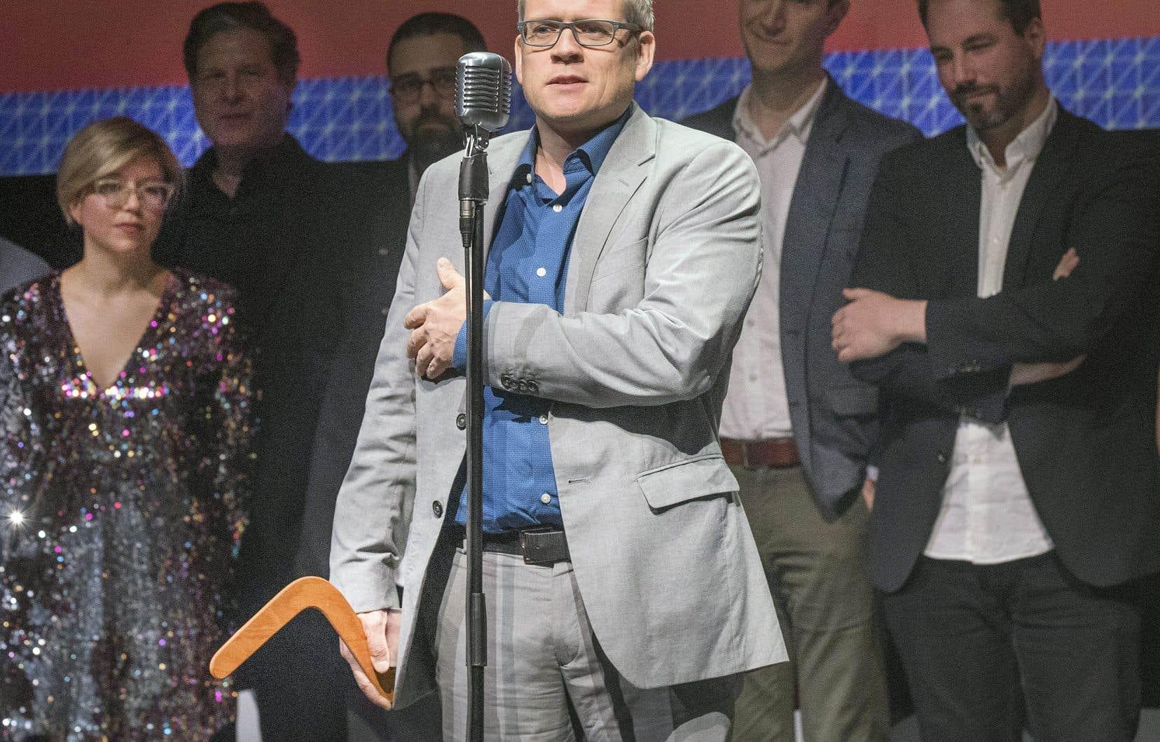 Le directeur du «Devoir», Brian Myles, a accepté le Grand Prix du concours Boomerang, remporté pour l'ensemble des initiatives numériques réalisées par le journal dans les derniers mois.