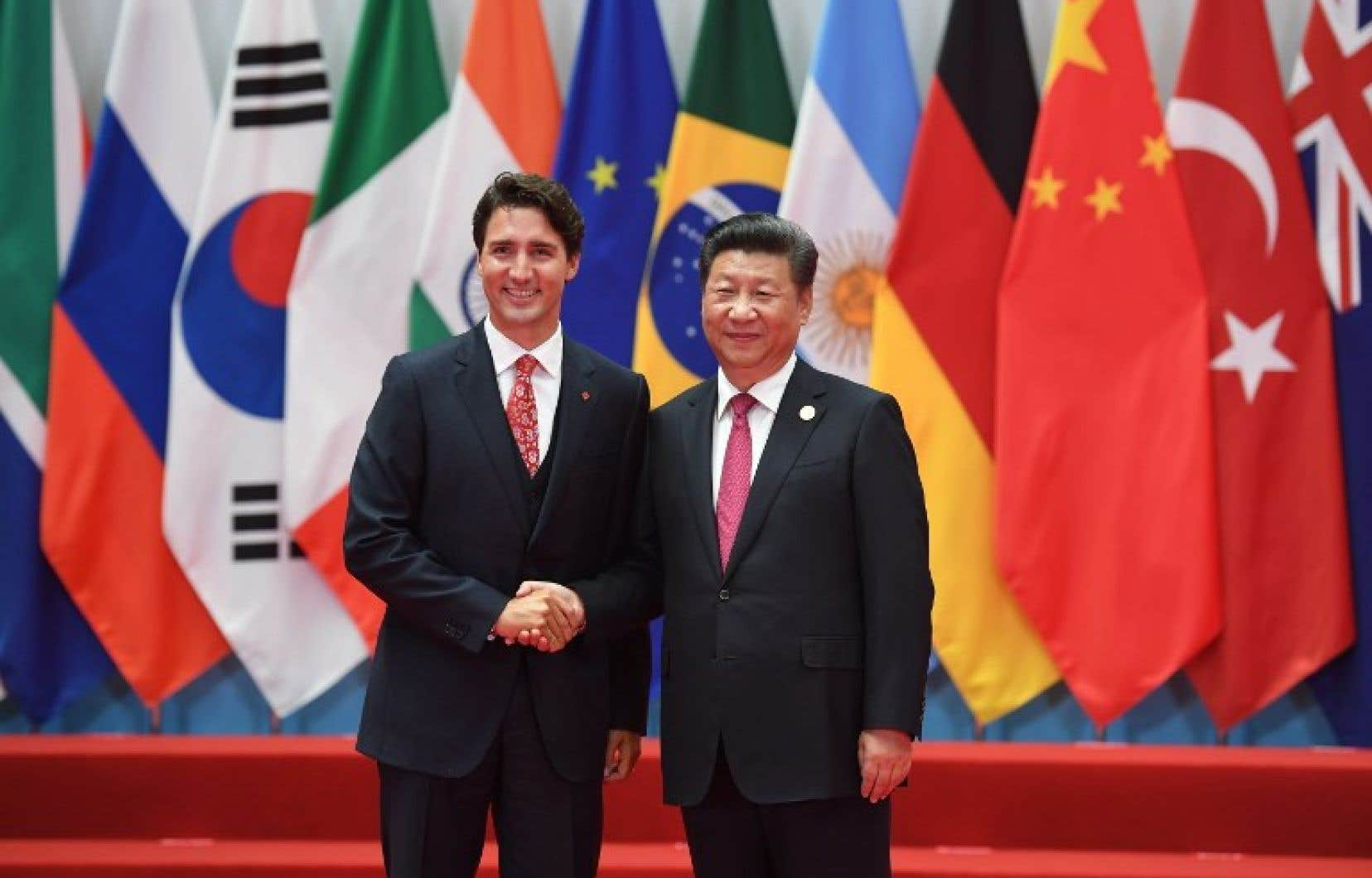 Justin Trudeau et Xi Jinping en septembre 2016