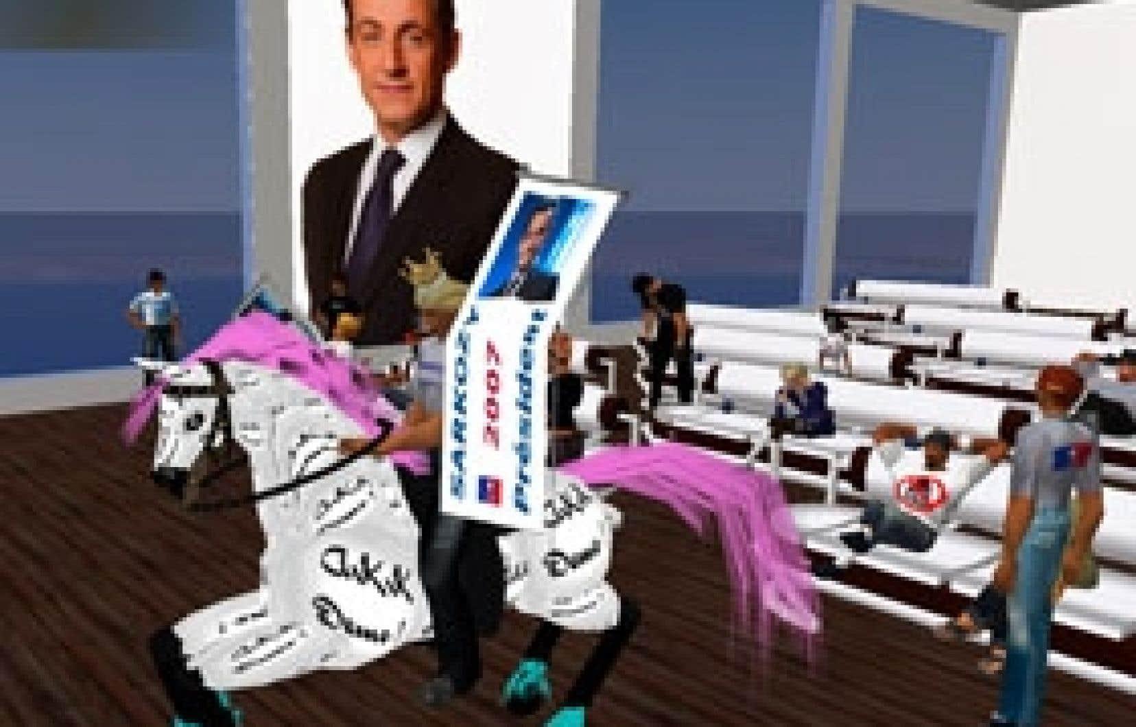 On peut tout faire dans les univers artificiels comme Second Life: prendre du bon temps au bord d'une mer virtuelle comme participer à la campagne électorale virtuelle d'un Nicolas Sarkozy virtuel.
