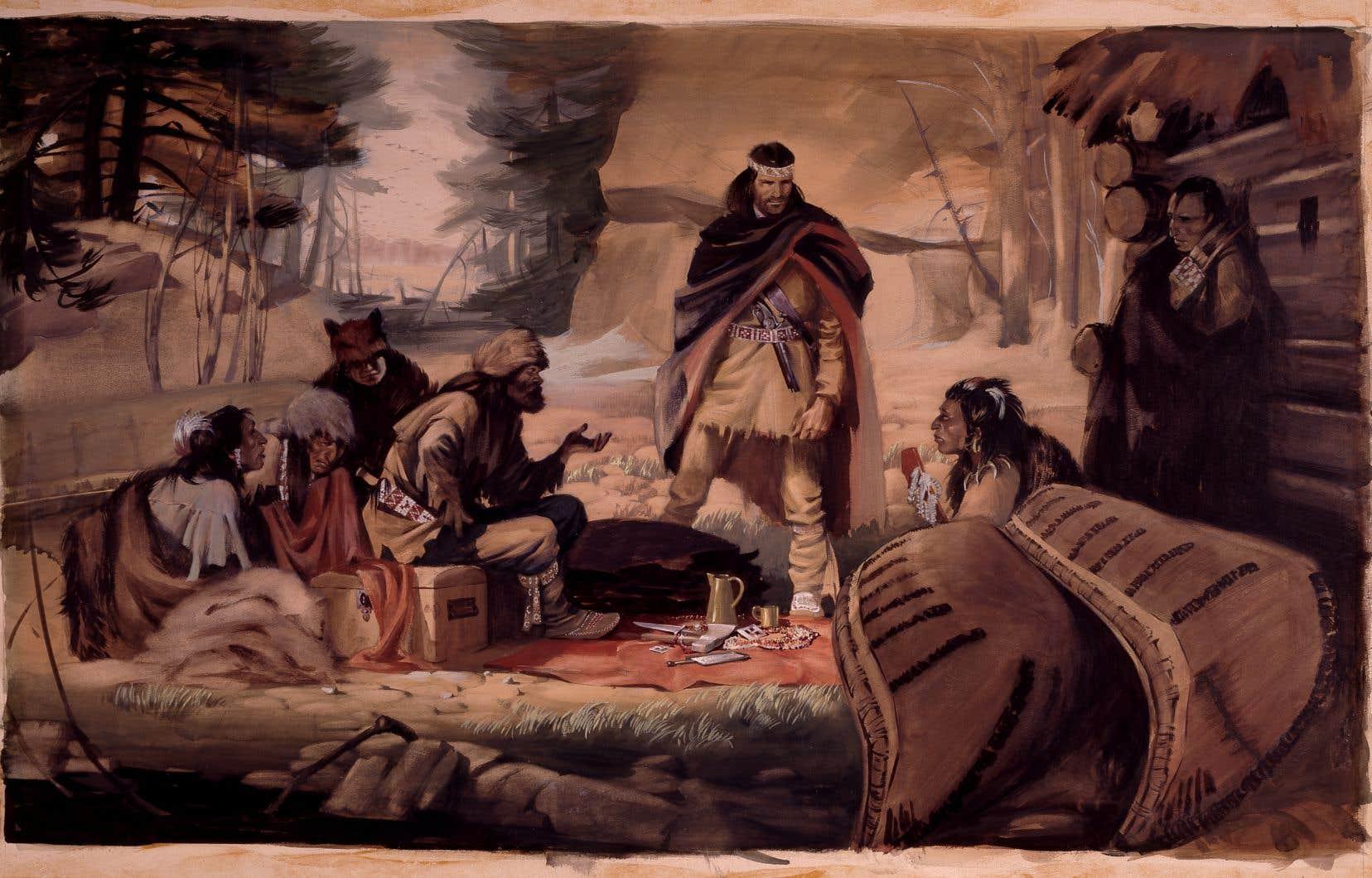 Radisson et Des Groseillers établissant le commerce des fourrures dans le Nord-Ouest, 1662 M993.154.313