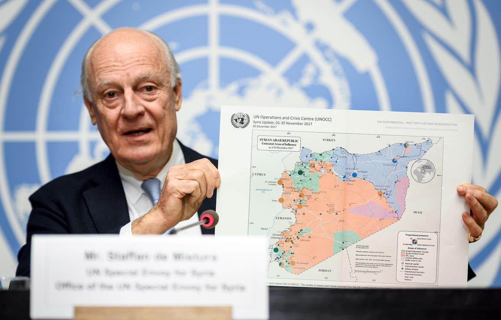 Le médiateur de l'ONU, Staffan de Mistura, en conférence de presse à Genève jeudi