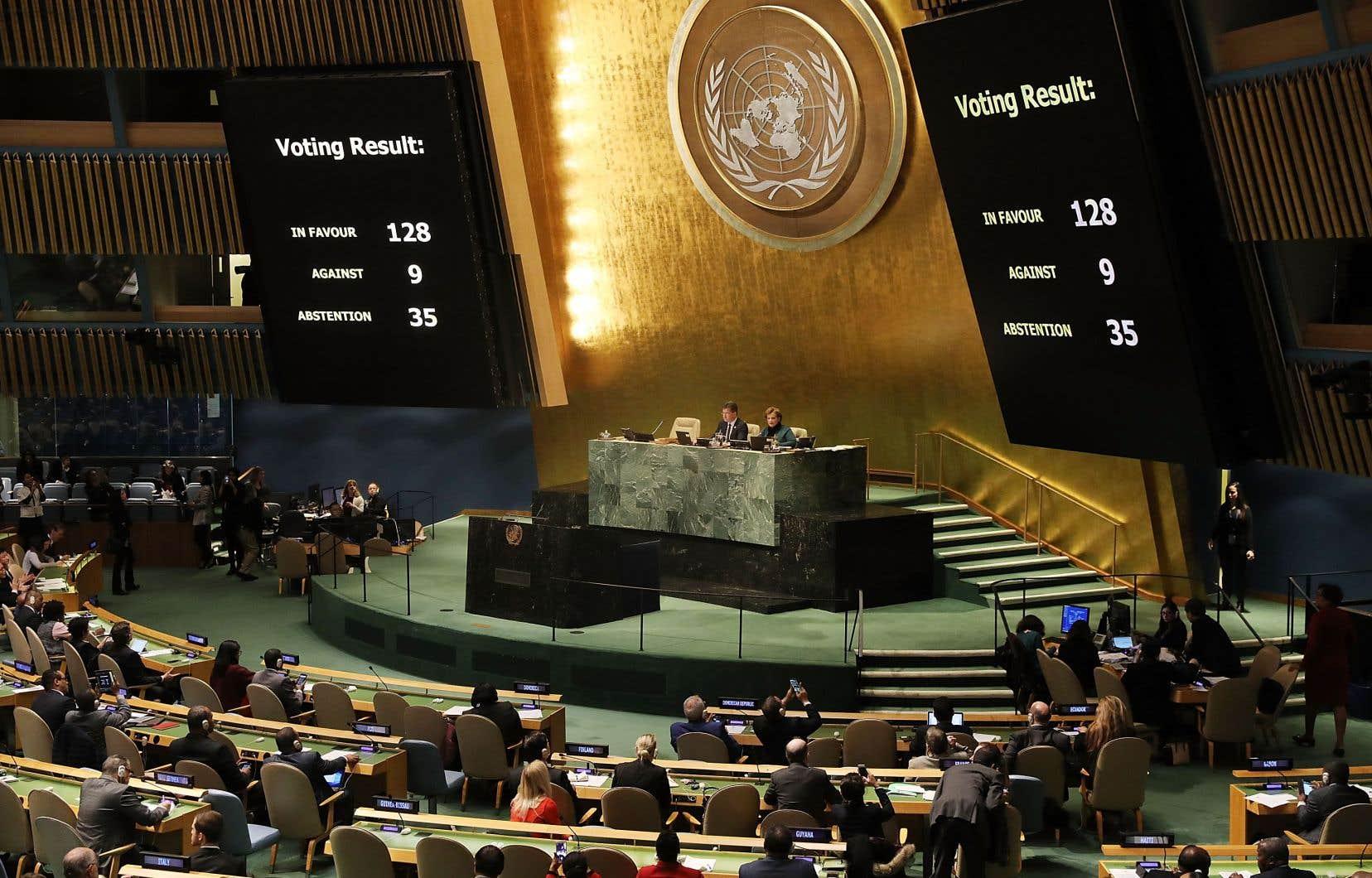 Sur les 193 pays membres des Nations unies, 128 ont voté en faveur de la résolution condamnant la décision de Donald Trump sur Jérusalem.