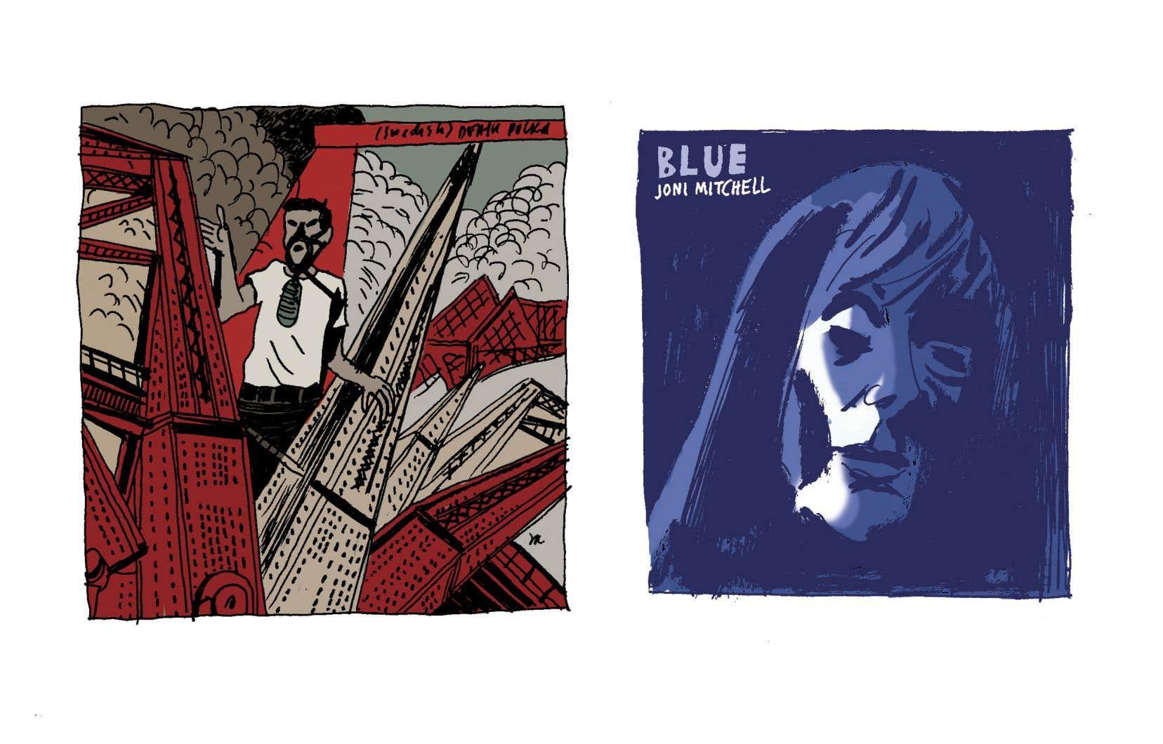 Deux pochettes dessinées par le bédéiste Philippe Girard