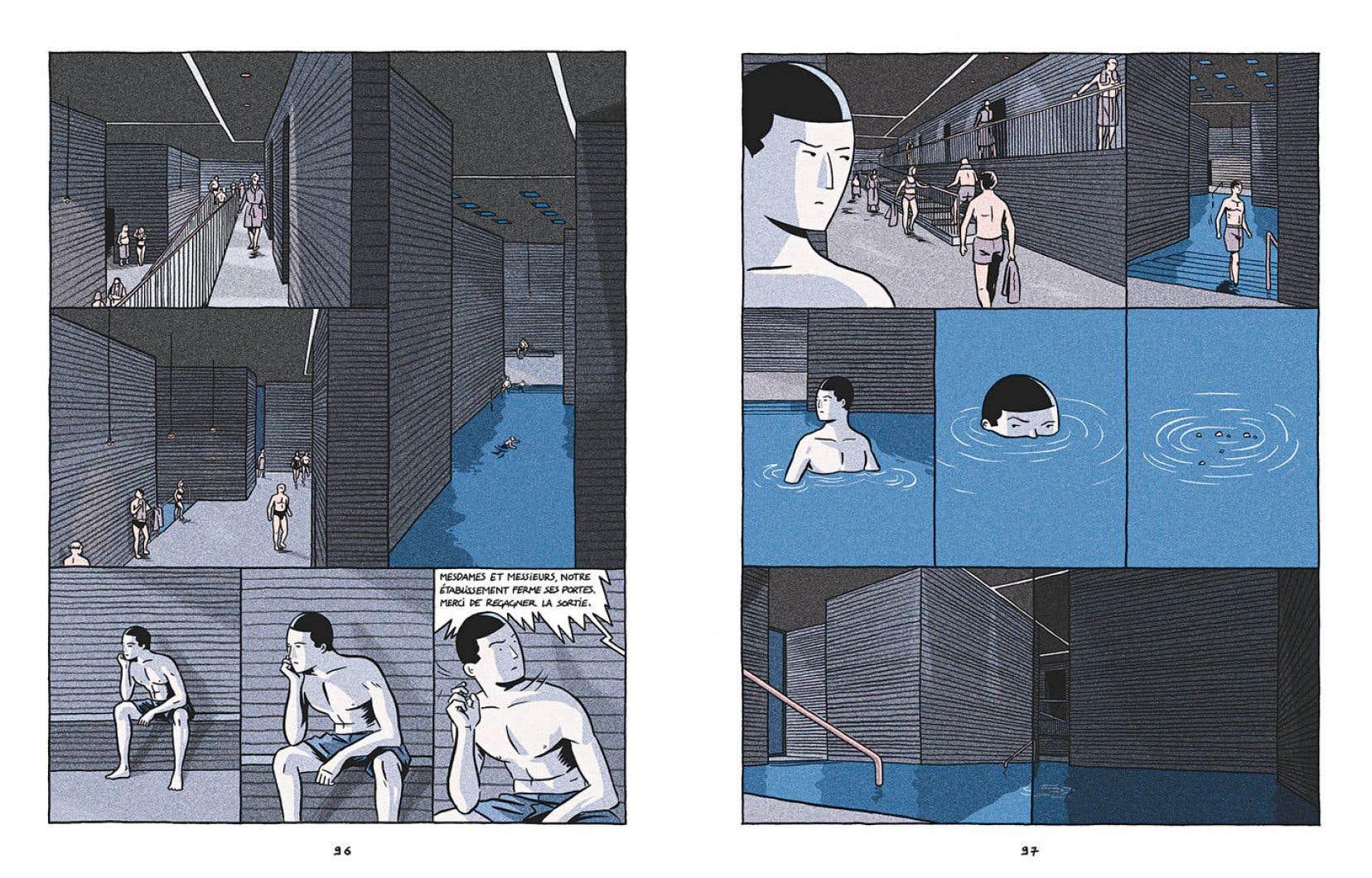 Deux planches tirées de la bande dessinée de Lucas Harari, «L'aimant»