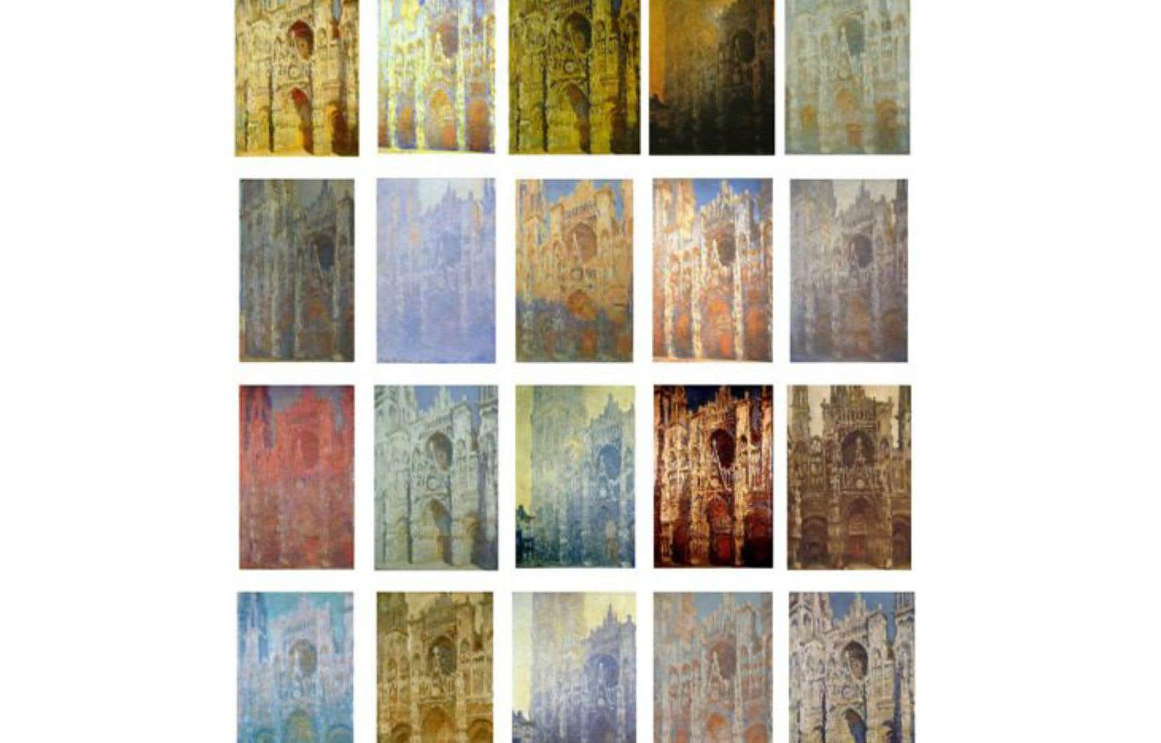 Une série de tableaux de Claude Monet représentant la cathédrale de Rouen. Chaque version est éclairée de façon très différente selon que l'artiste a peint la cathédrale le soir ou le matin, voire à un moment différent de l'année.