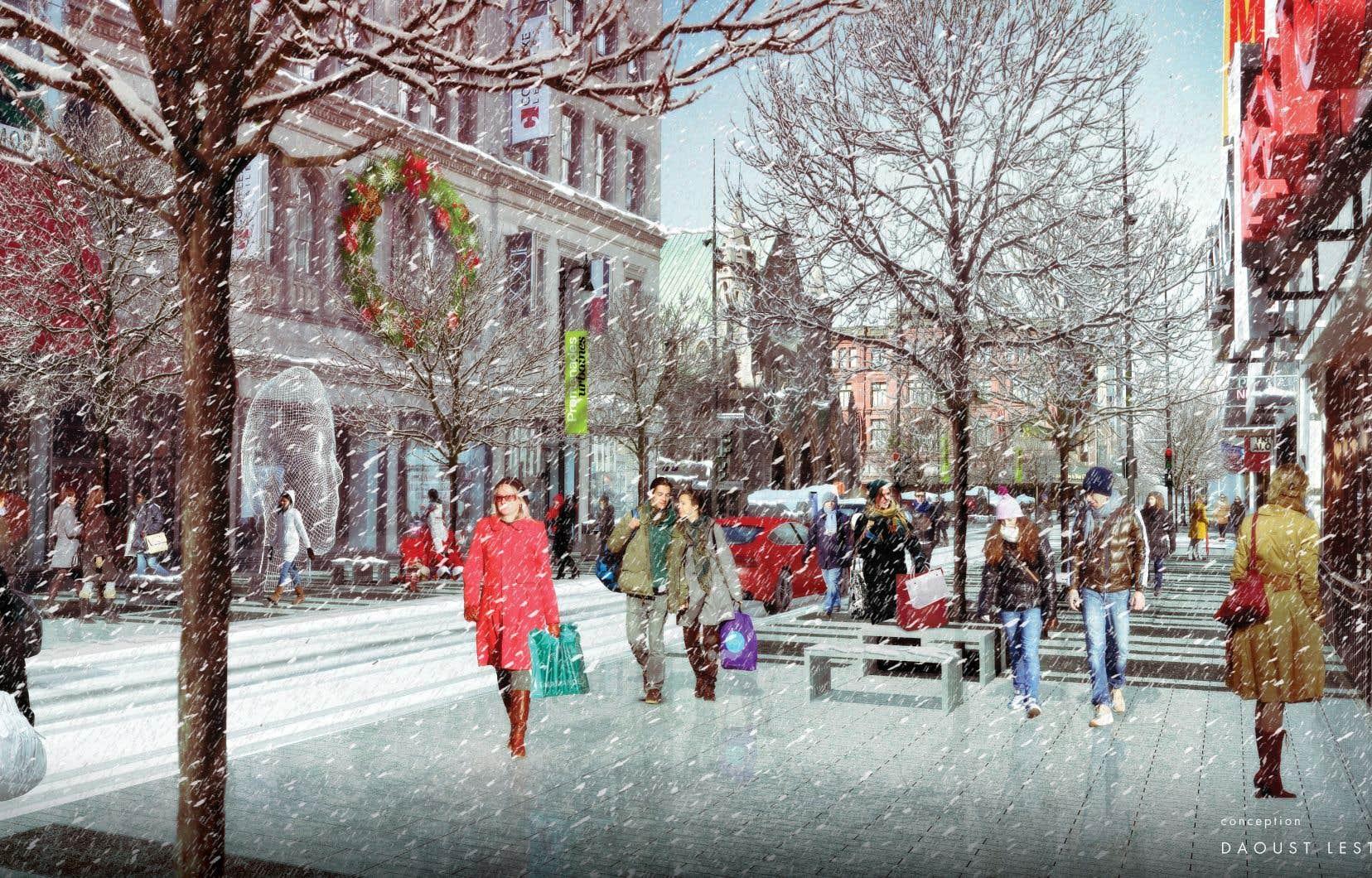 Le projet de réaménagement de la rue Sainte-Catherine Ouest présenté par l'administration de Denis Coderre en mai 2015 prévoyait la construction de trottoirs chauffants.