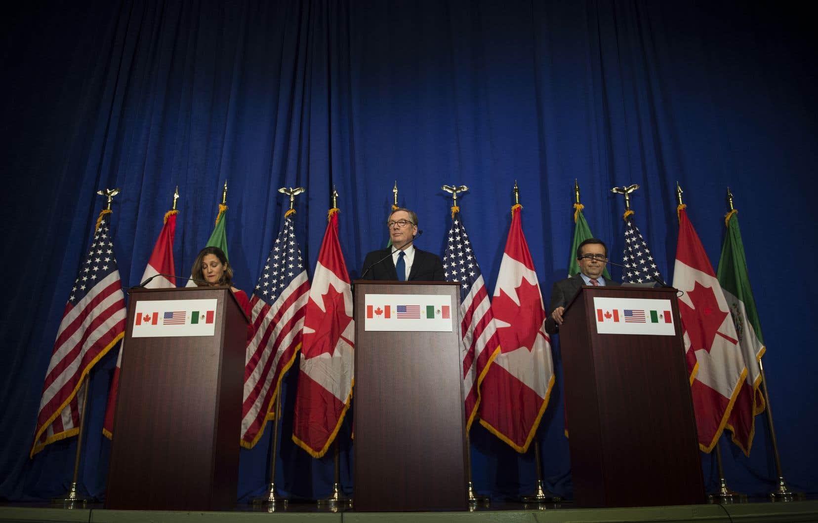 Les négociateurs canadien, américain et mexicain,Chrystia Freeland,Robert Lighthizer etIldefonso Guajardo Villarreal, en octobre dernier