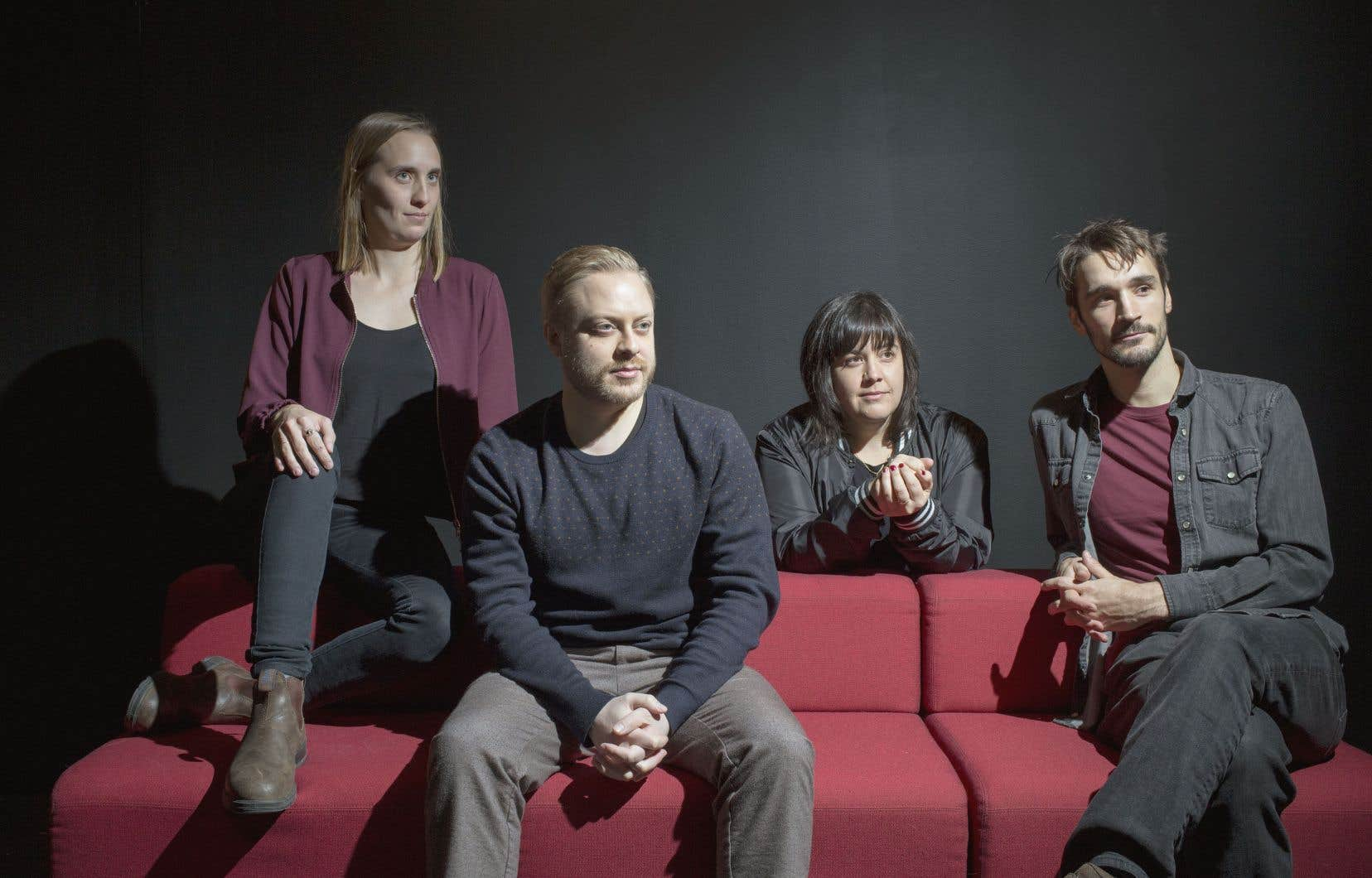 Les cinéastes Sophie Dupuis, Guillaume Lambert, Jeanne Leblanc et Pascal Plante