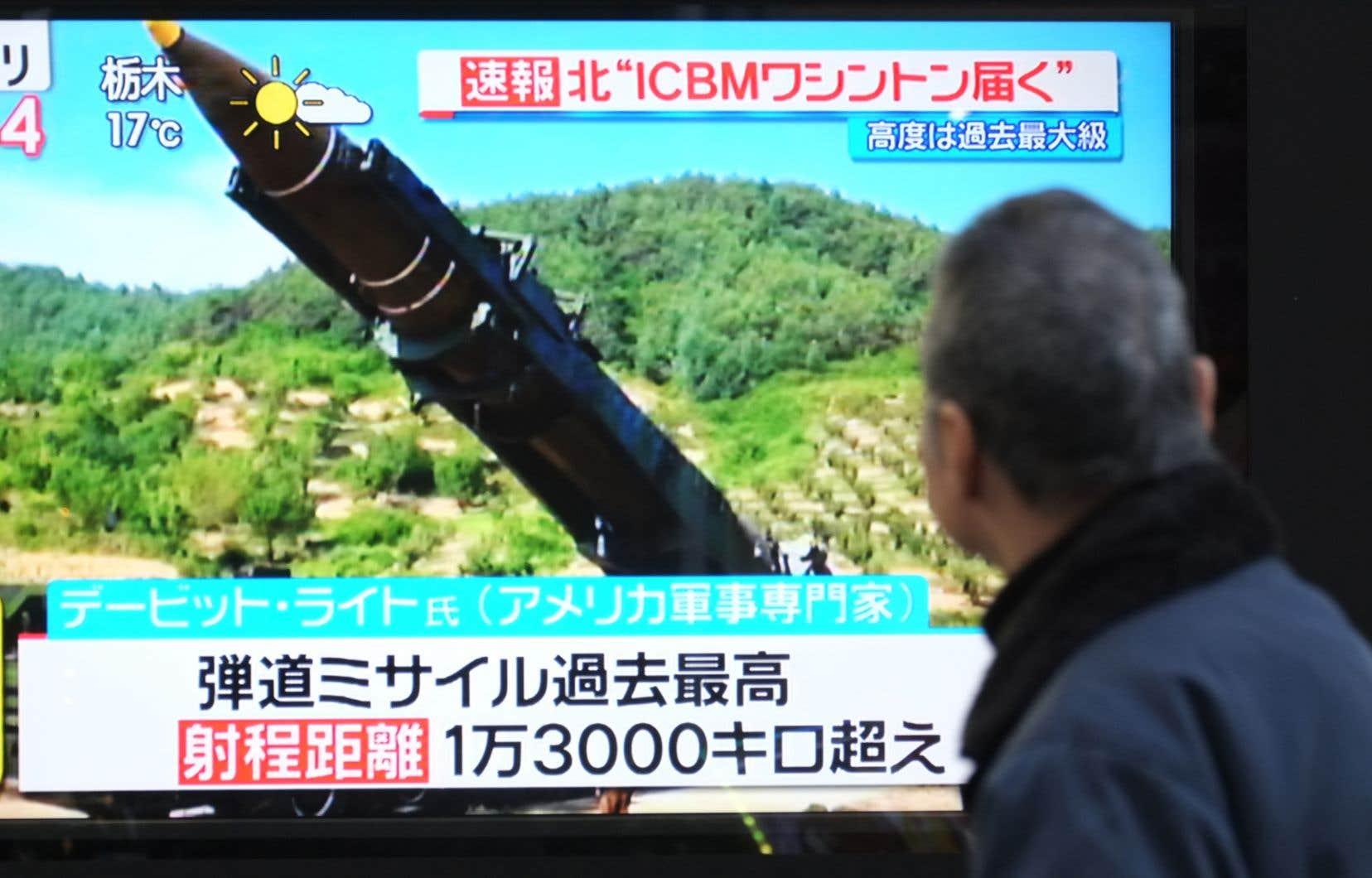 L'annonce du lancement d'un missile nord-coréen en novembre dernier.