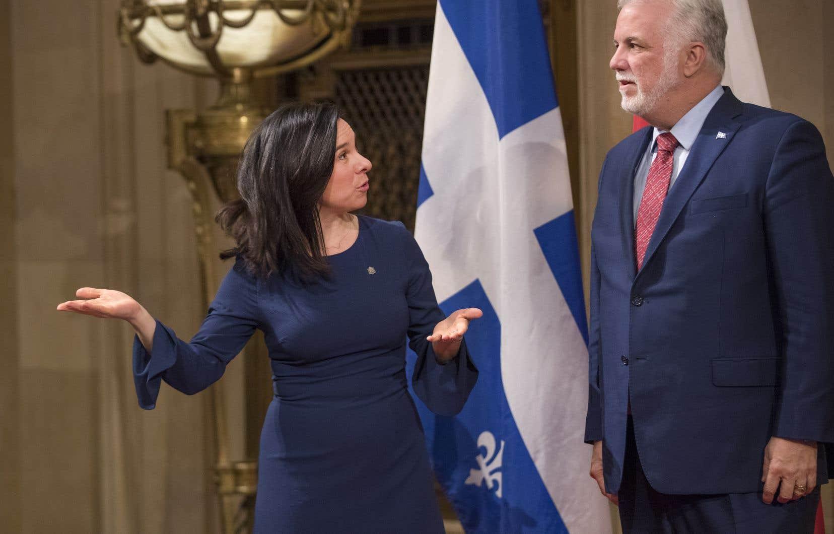 La mairesse de Montréal, Valérie Plante, et le premier ministre du Québec, Philippe Couillard