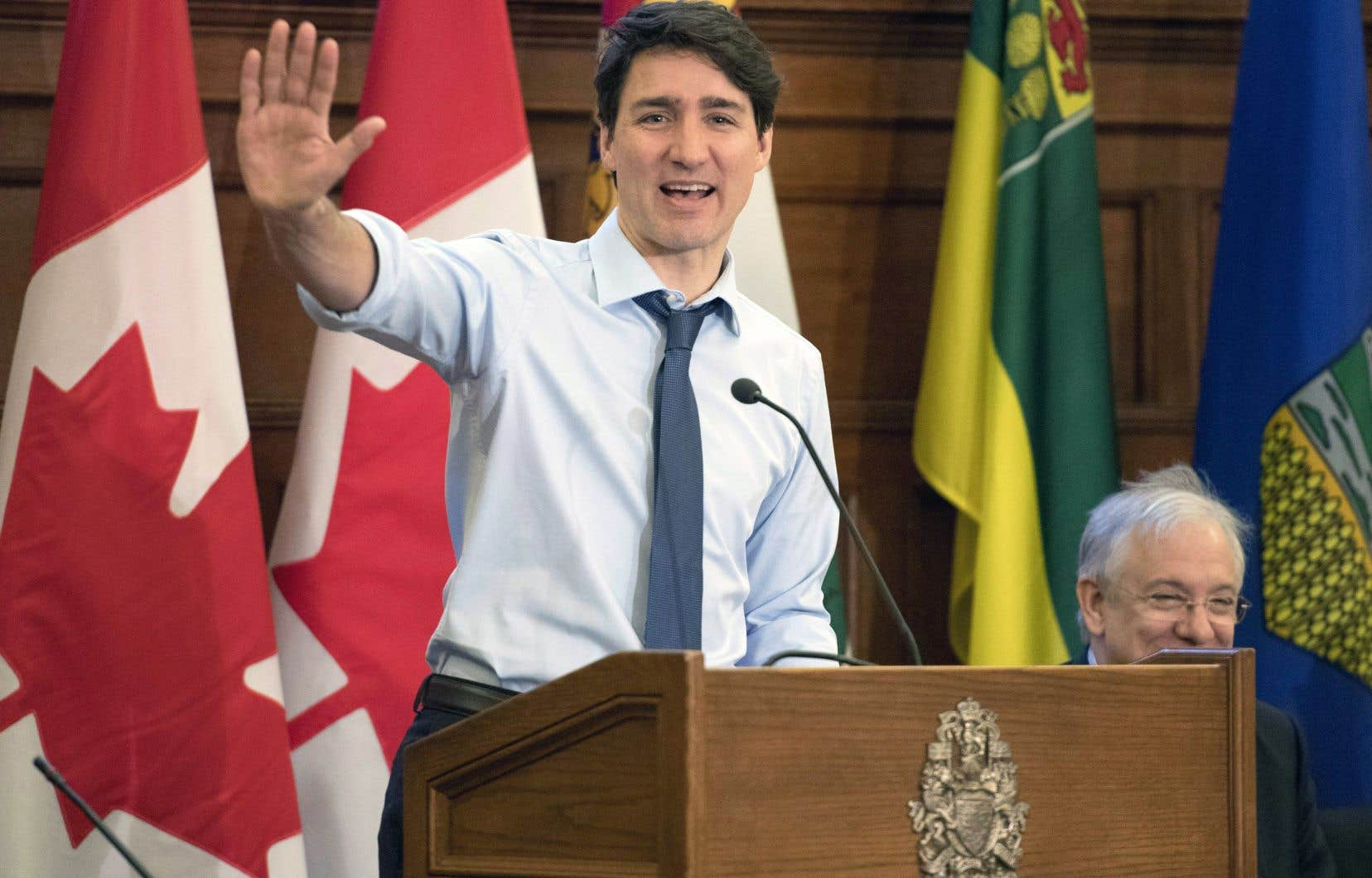 Tout juste rentré du sommet économique de Davos, Justin Trudeau s'est adressé à son caucus national dimanche à Ottawa.