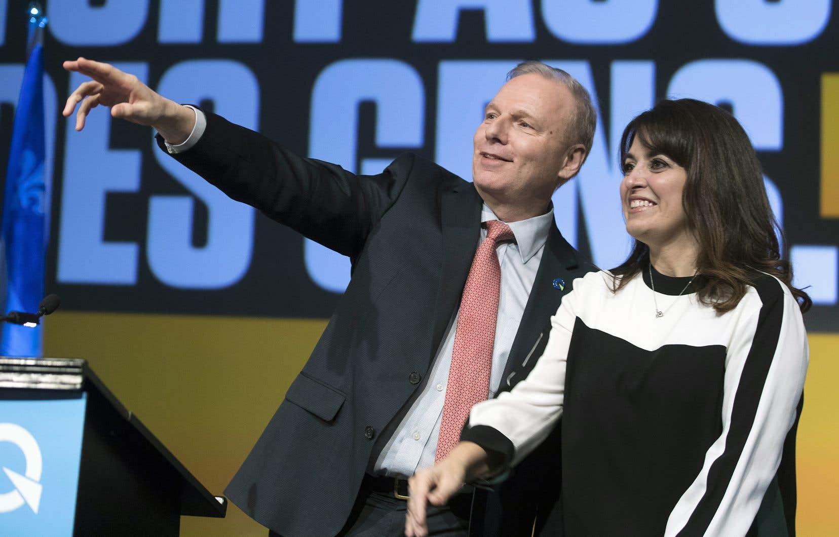 Le chef du Parti québécois, Jean-François Lisée, en compagnie de la nouvelle vice-chef, Véronique Hivon