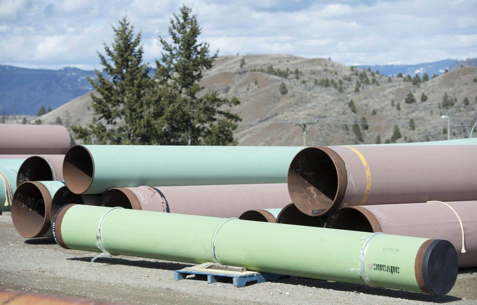Des parties du pipeline sont entreposées sur les terrains de Trans Mountain à Kamloops, en Colombie-Britannique.