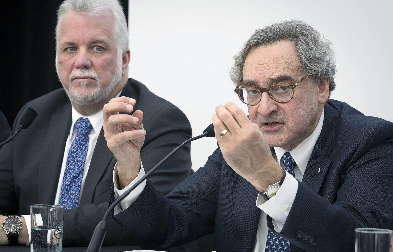 Le premier ministre du Québec, Philippe Couillard, et le président de la Caisse de dépôt et placement du Québec, Michael Sabia