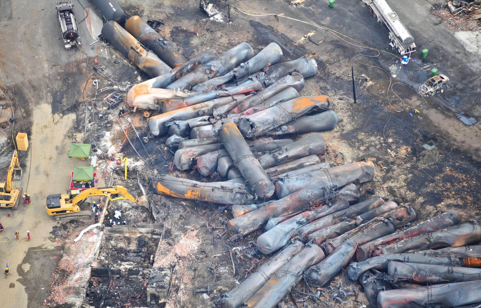 Un train a déraillé dans la petite municipalité de Lac-Mégantic, explosant et rasant une partie de son centre-ville, le 6 juillet 2013.