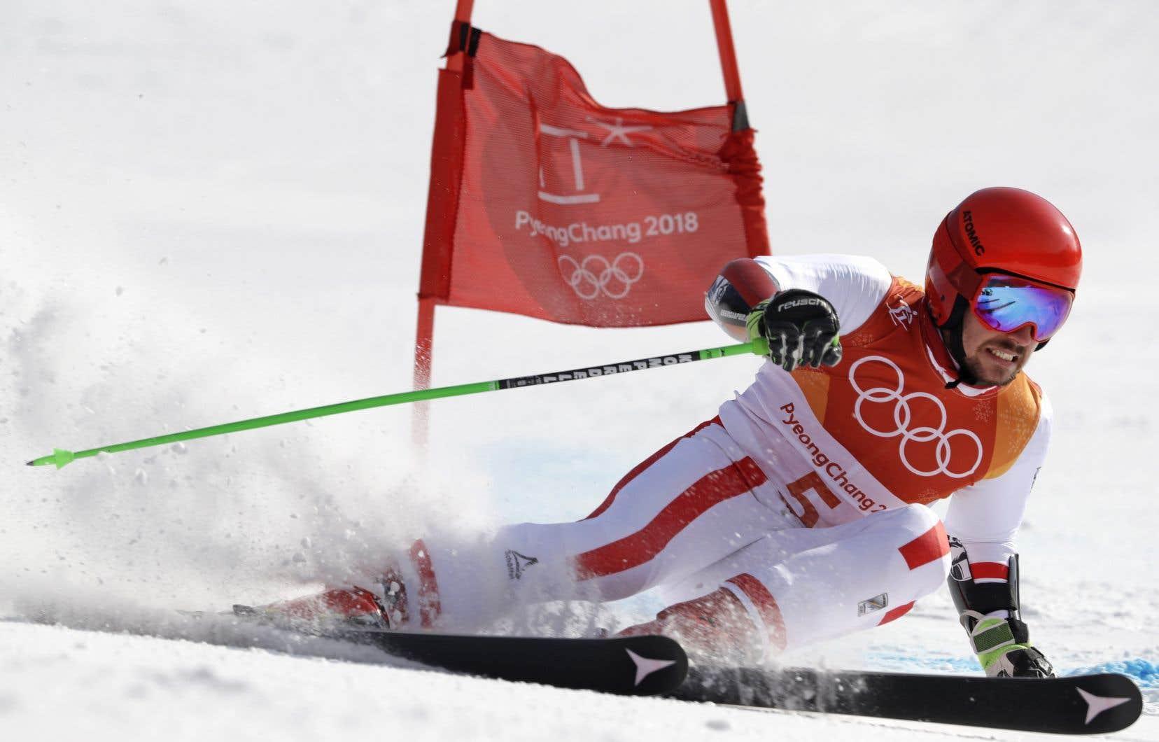 L'Autrichien Marcel Hirscher, lors de la finale de l'épreuve de slalom géant