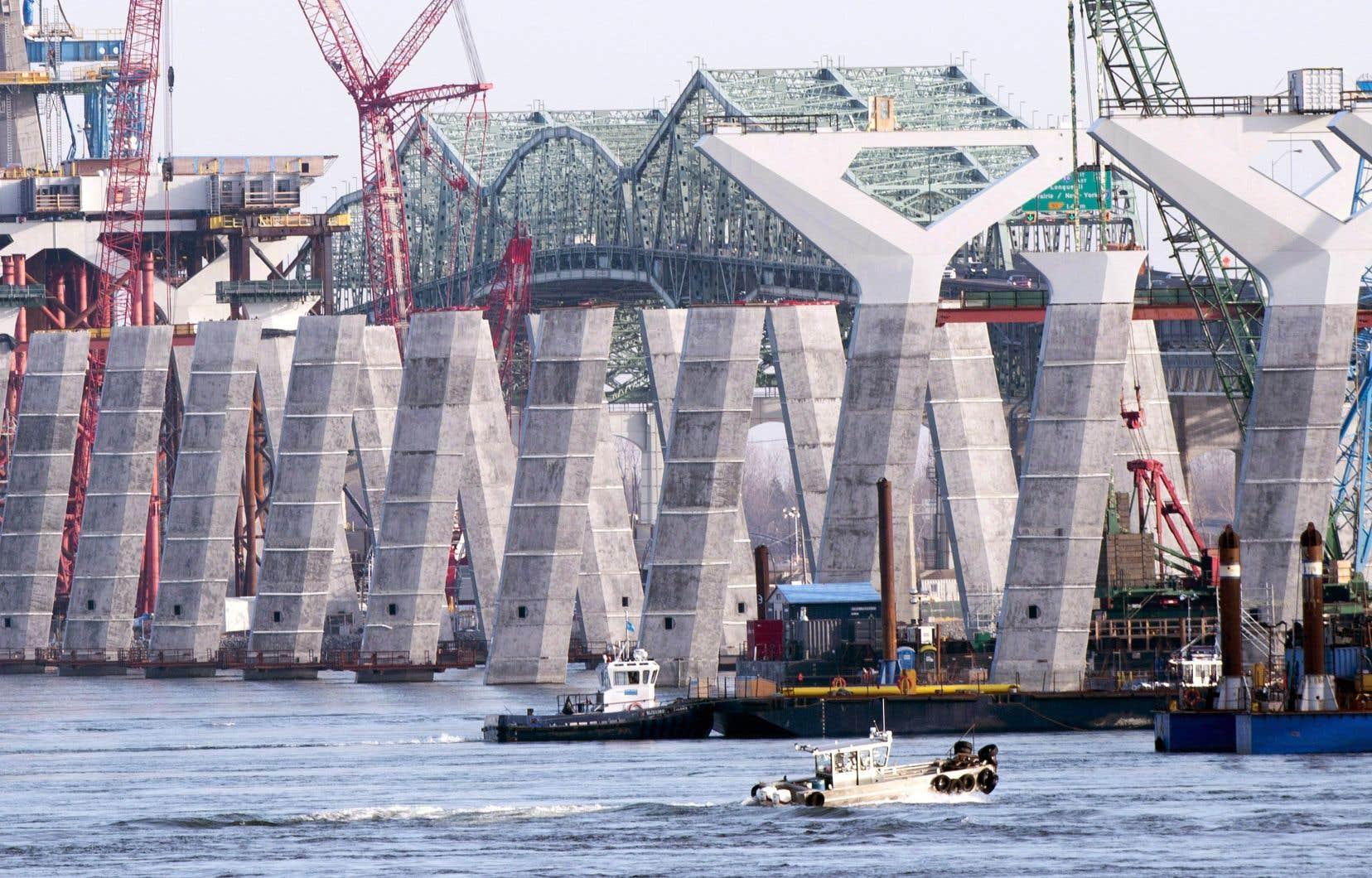 Le chantier en décembre dernier. Le nouveau pont Champlain est aujourd'hui construit à 65%, selon le consortium Signature sur le Saint-Laurent.