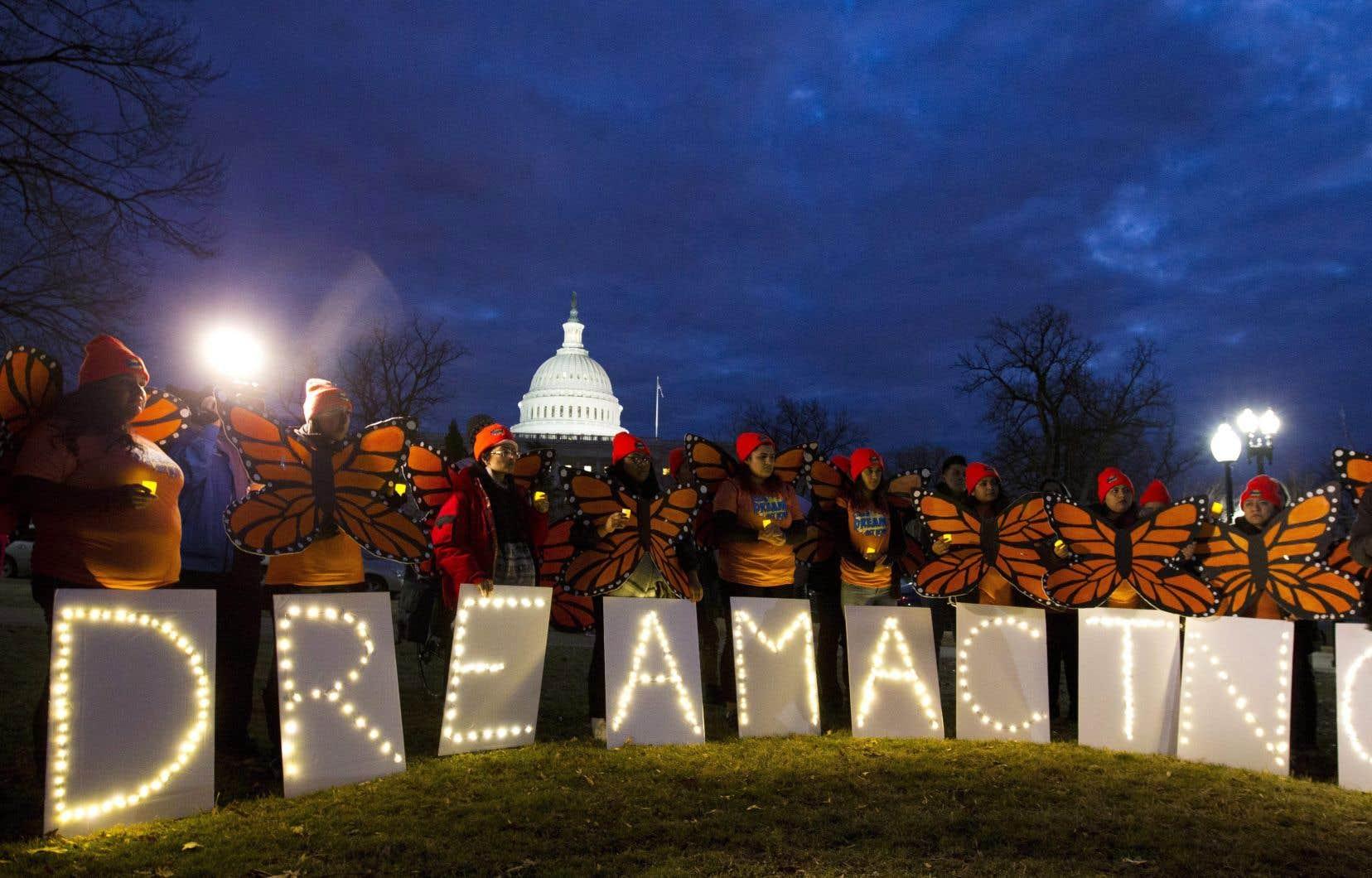 Des manifestants en faveur des «Dreamers» se sont réunis devant le Capitol, à Washington, en janvier dernier.