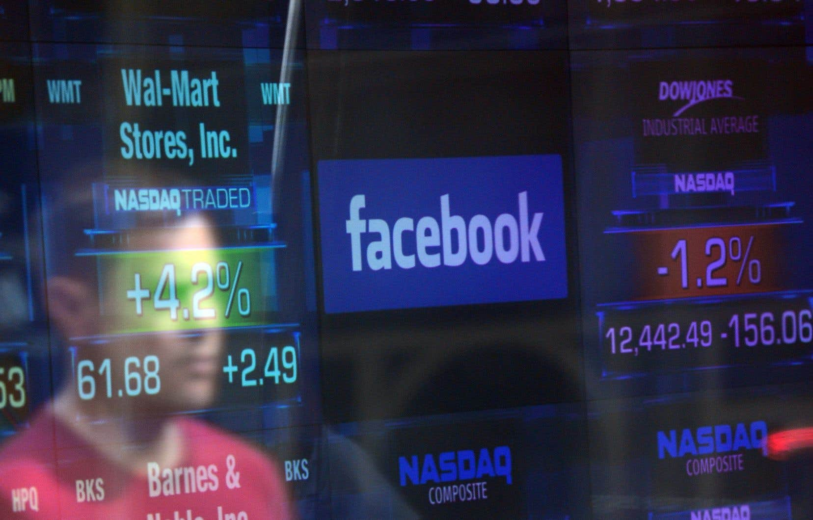 Lundi après-midi, le titre Facebook a chuté de plus de 5% à la Bourse.