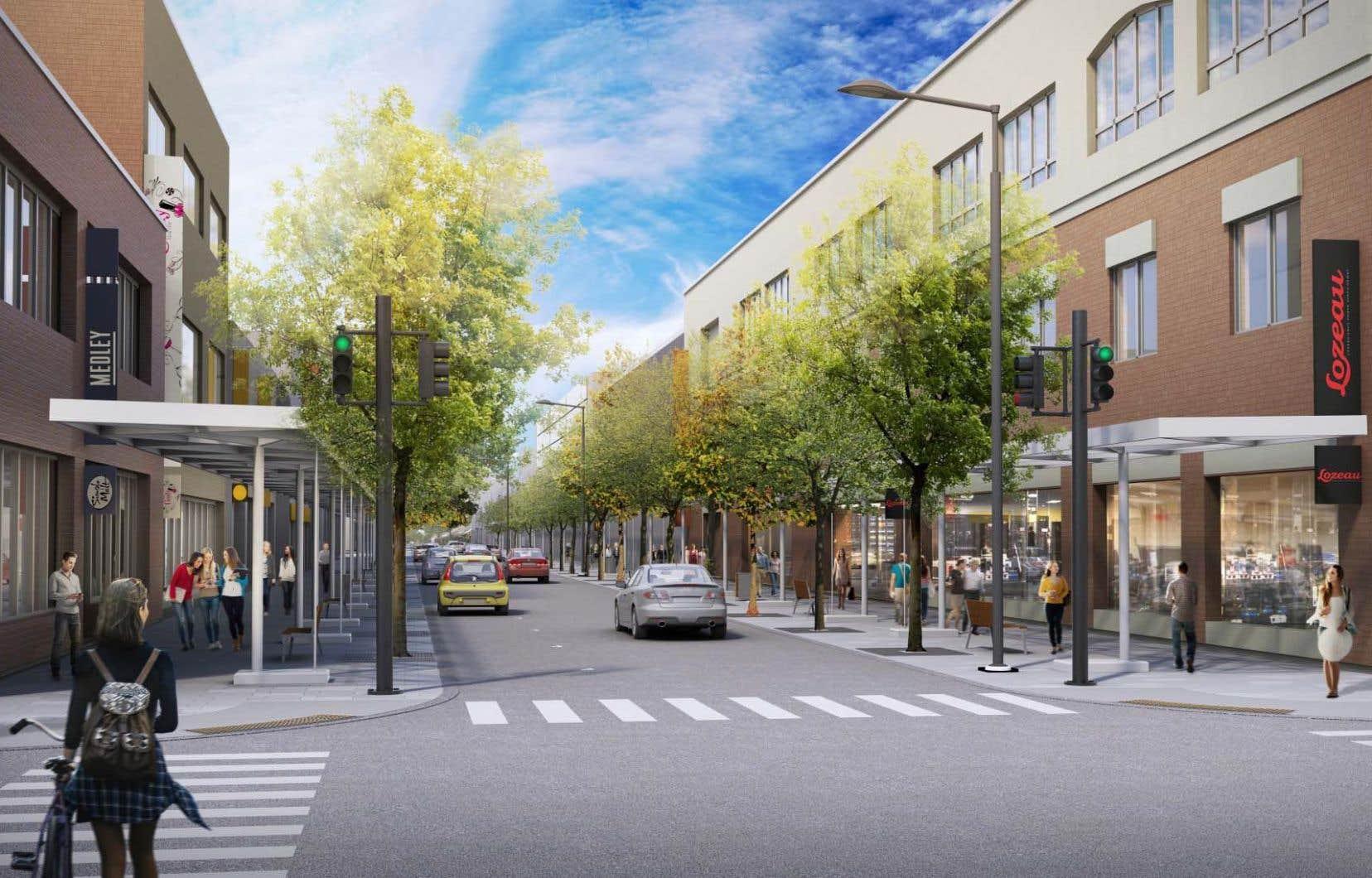 La future Plaza sera dotée de trottoirs plus larges et d'une marquise qui ne devrait plus servir d'abri pour les colonies de pigeons.