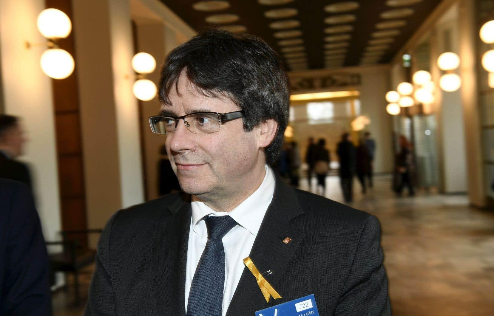 L'ancien président catalan Carles Puigdemont, jeudi à Helsinki