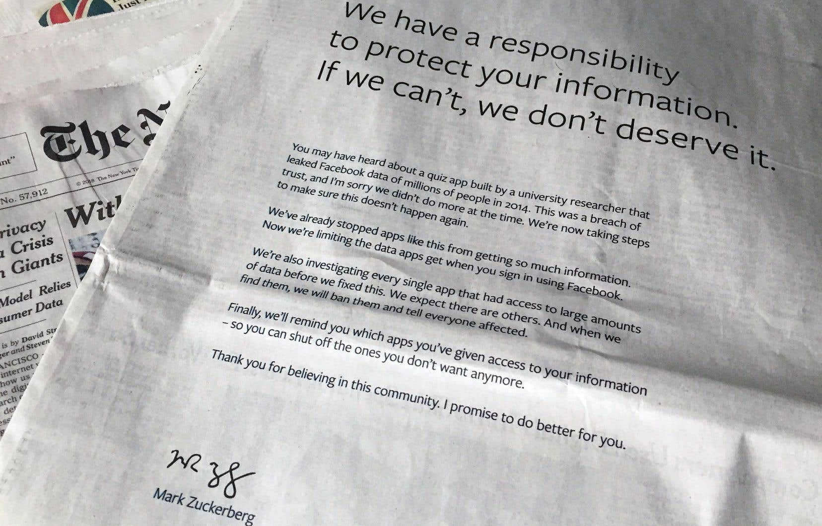 Le ton de MarkZuckerberg rappelle son premier message d'excuses, publié mercredi.