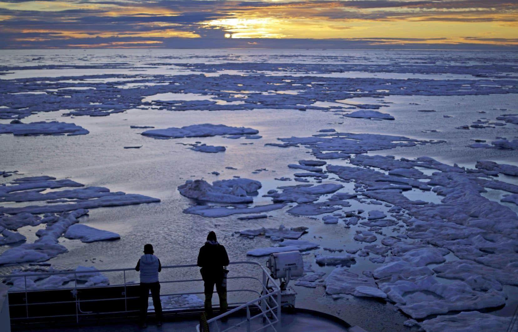 Des chercheurs à bord d'un navire dans le détroit de Victoria, reliant le Nunavut à l'Arctique canadien, en juillet 2017