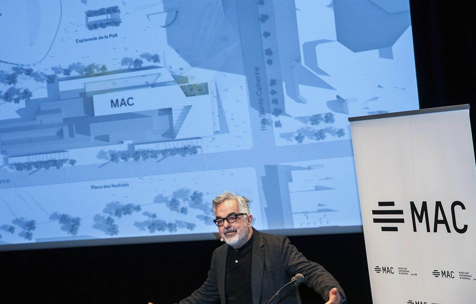 Selon l'architecte-concepteur principal, Gilles Saucier, le projet «signalera la présence du musée sur le site de la Place des Arts».