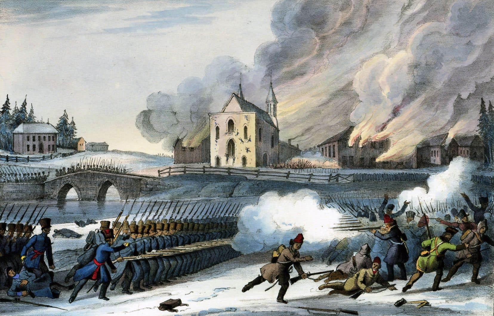 Les troupes anglaises ont attaqué les patriotes à Saint-Eustache, le 14décembre 1837, tout près de l'église, dessinée à l'arrière-plan, dans laquelle les insurgés se sont retranchés.