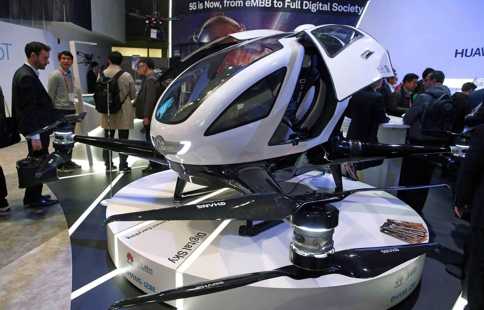 Un taxi volant utilisant la technologie 5G était présenté au Mobile World Congress Wireless Show de Barcelone, en février dernier.
