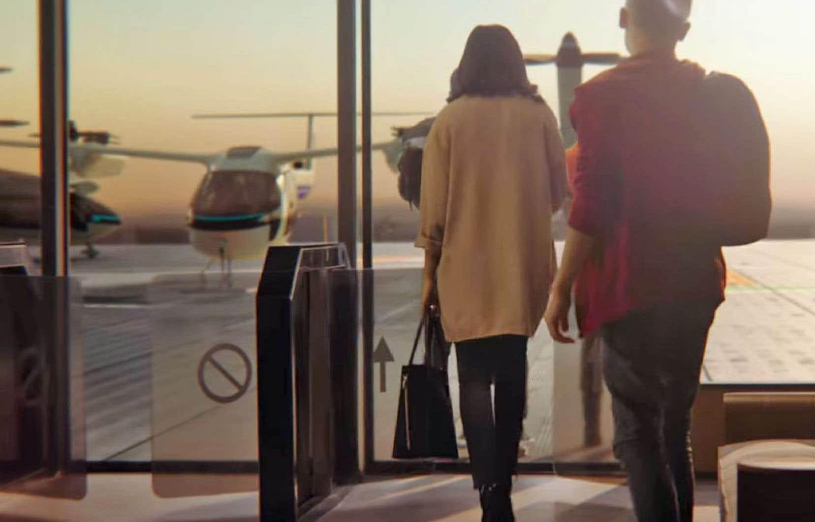 Dans une vidéo présentant le projet d'Uber, Elevate, on voit des gens se rendre au 17eétage d'un immeuble du centre-ville pour prendre place à bord d'un appareil se situant à mi-chemin entre l'avion et l'hélicoptère.