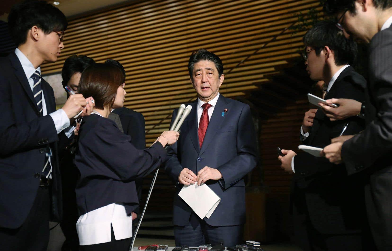 Le premier ministre japonais, Shinzo Abe, en point de presse