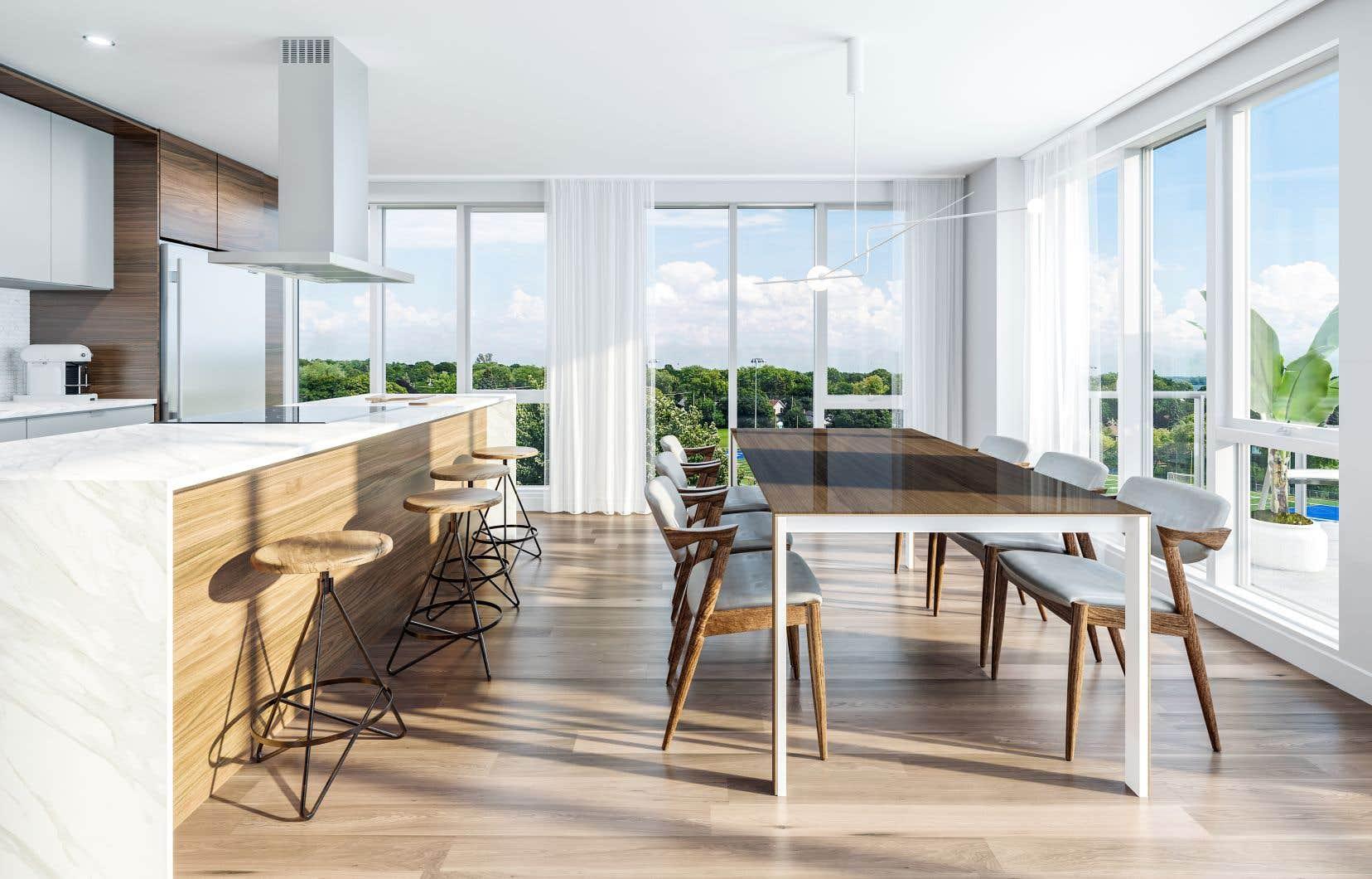 Perspective d'une salle à manger d'un appartement du Quatrième
