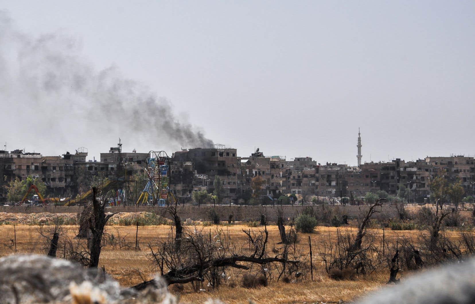 La ville de Douma, vendredi, où une attaque chimique présumée a fait au moins 40 morts au début du mois d'avril, selon les secouristes.