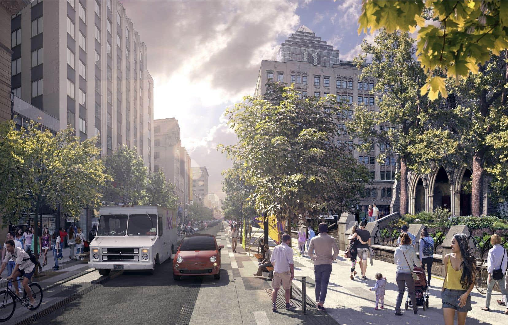 La mairesse Valérie Plante a dévoilé jeudi la nouvelle mouture du projet de réaménagement de la rue Sainte-Catherine Ouest.