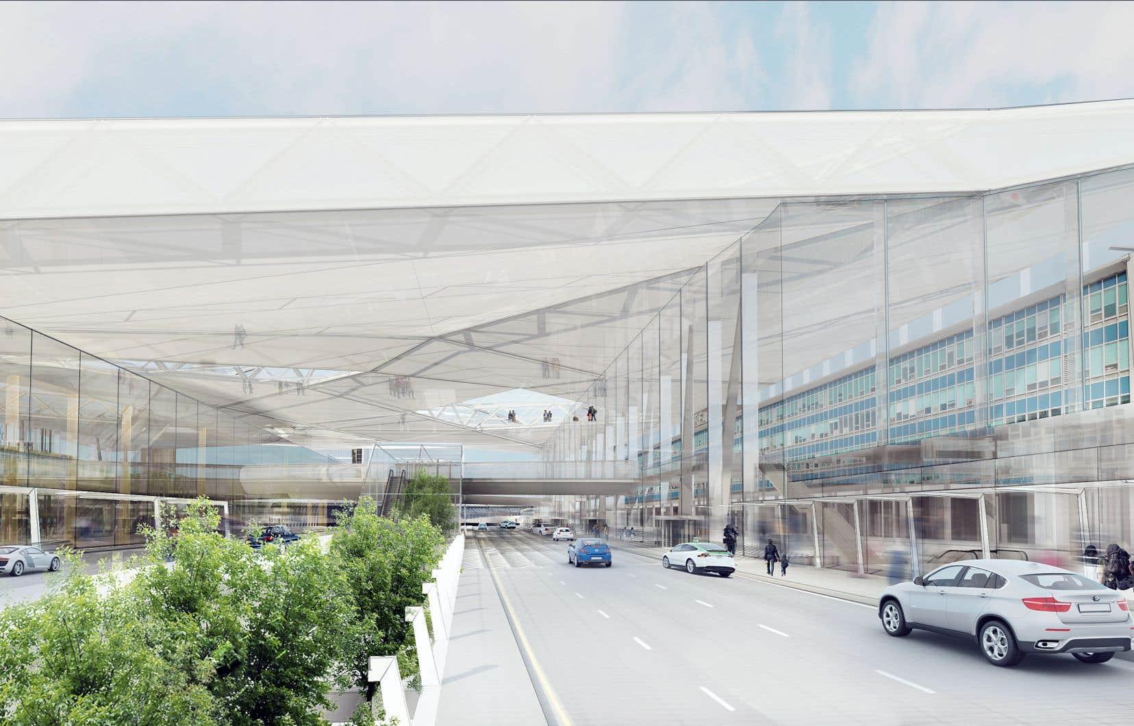 Le débarcadère, que la direction de l'aéroport promet «plus fluide», se trouvera désormais sous un toit de verre.