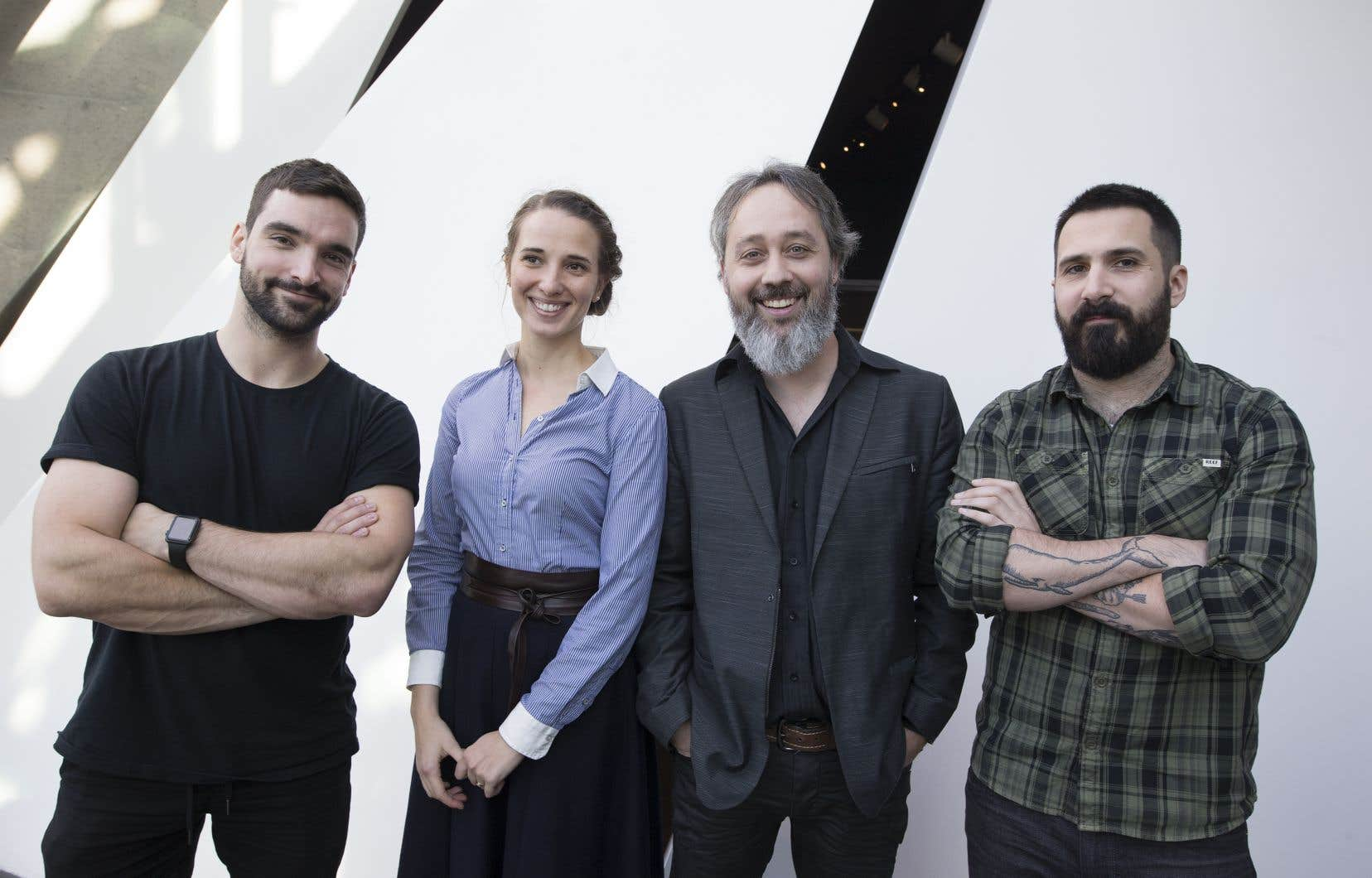 Les finalistes du Prix littéraire des collégiens 2018. De gauche à droite: Jean-Philippe Baril Guérard, Audrée Wilhelmy, Jean-François Caron et Stéphane Larue. Abla Farhoud était absente lors de la photo.