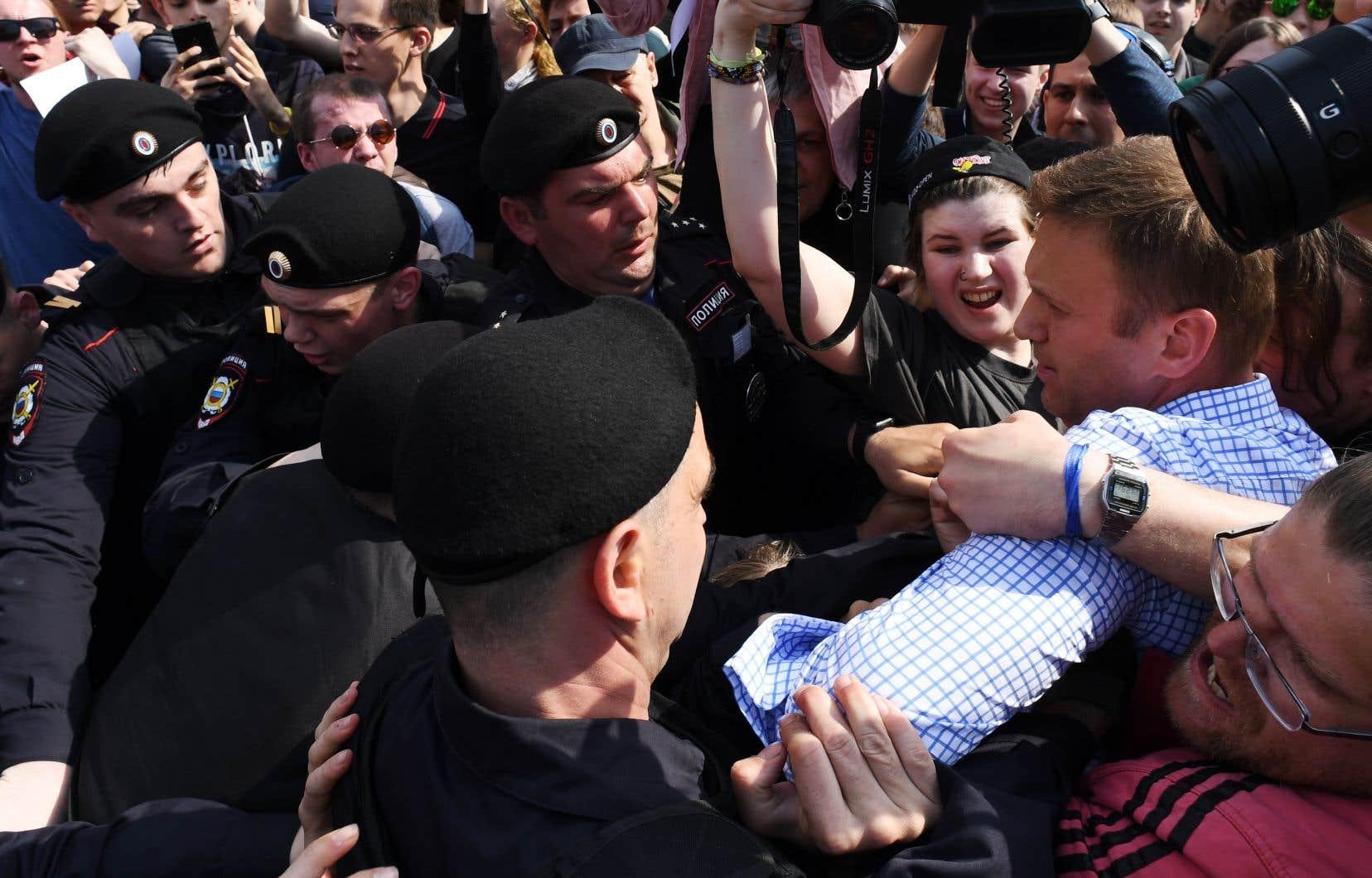 <p>Alexeï Navalnya été arrêté samedi pendant une manifestation non-autorisée à Moscou.</p>